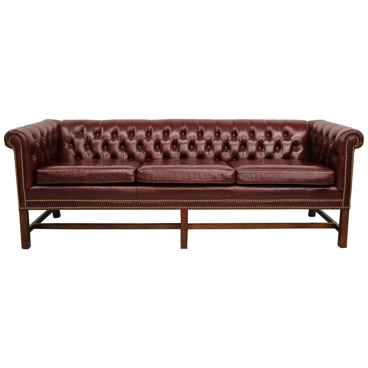 Vintage Chippendale Style Chesterfield Sofa Chairish
