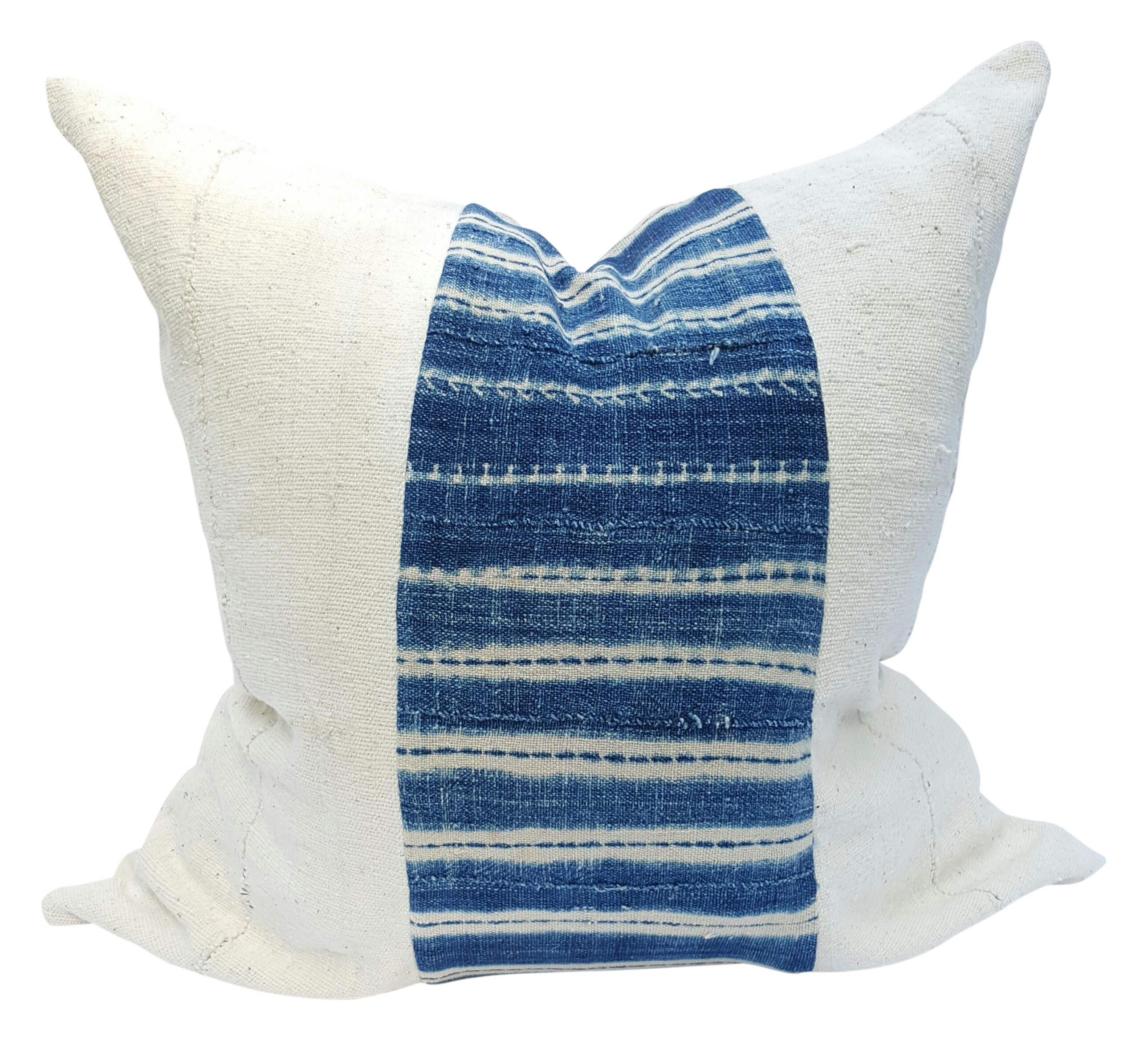 African Mud Cloth White And Blue Striped Pillow Chairish