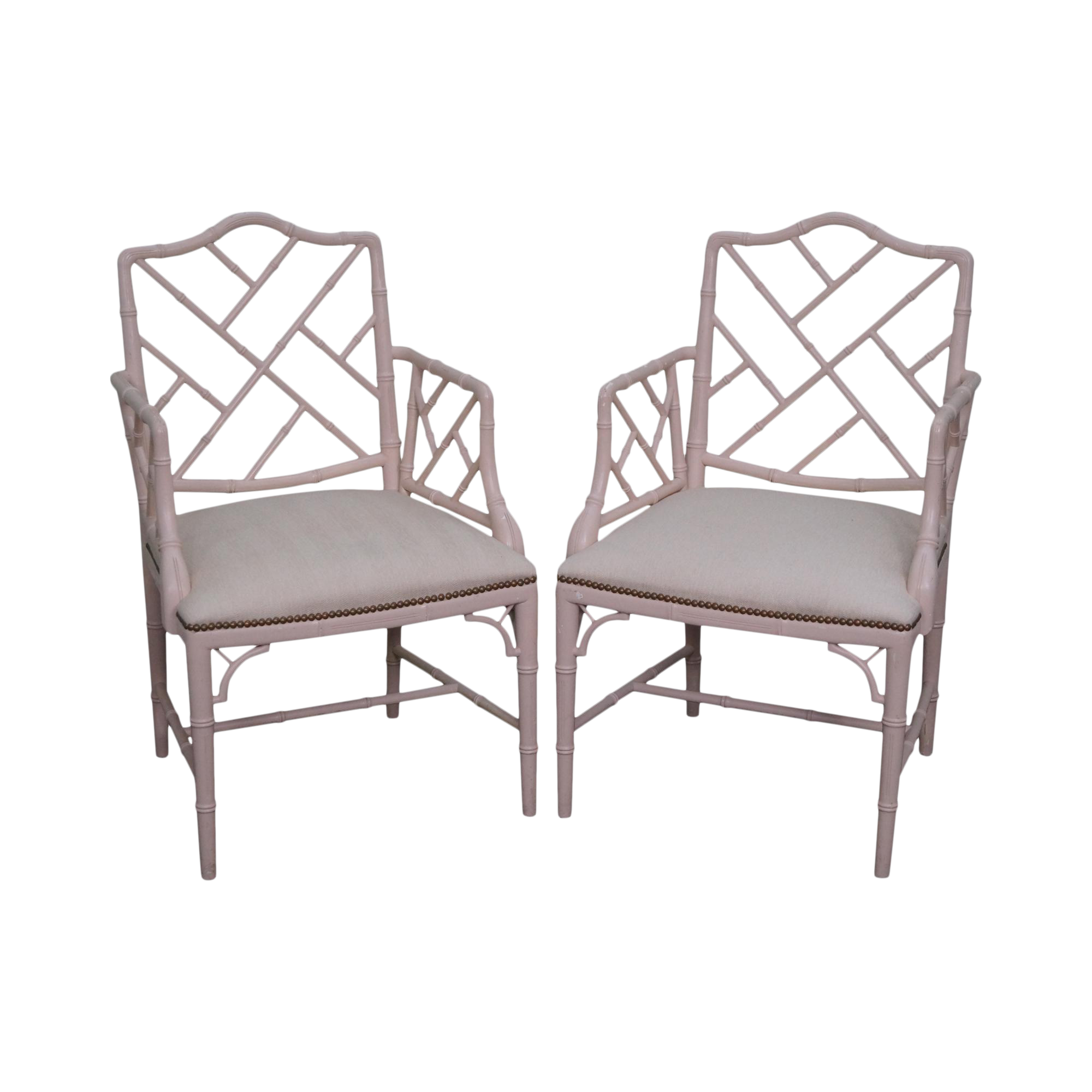 Bamboo arm chairs - Image Of Quality Pair Of Chinese Chippendale Style Faux Bamboo Arm Chairs