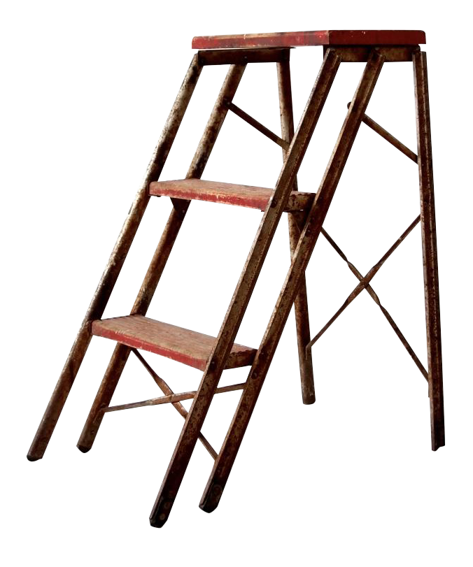Vintage Red Folding Metal Amp Wood Step Ladder Chairish