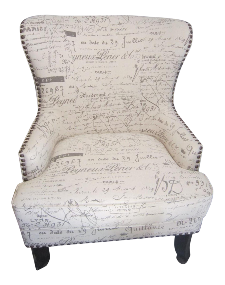 French Country Script Chairs ~ French script wing chair with nailhead trim chairish