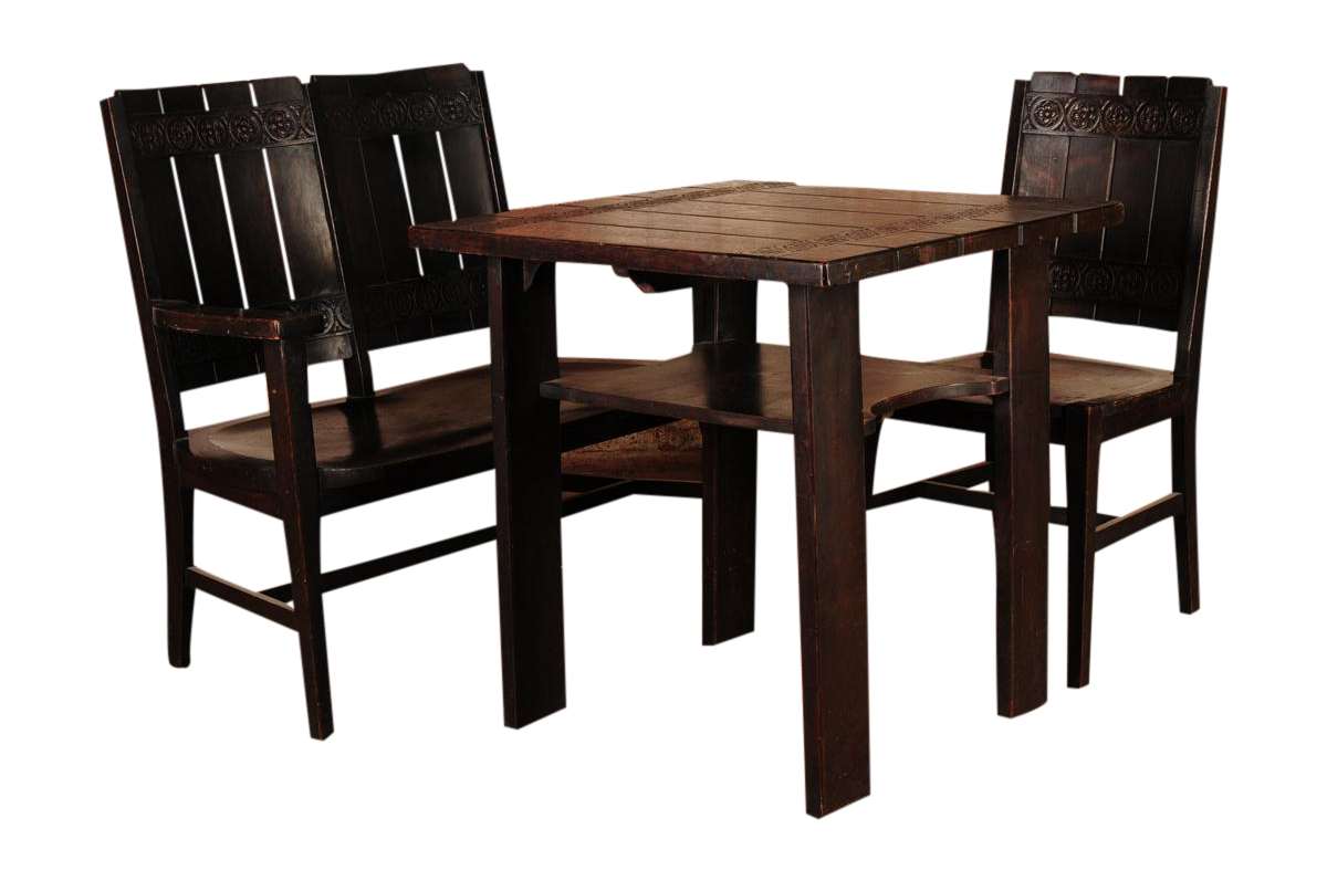 1910s arts crafts oak breakfast dining set chairish for Arts and crafts 5 piece dining set