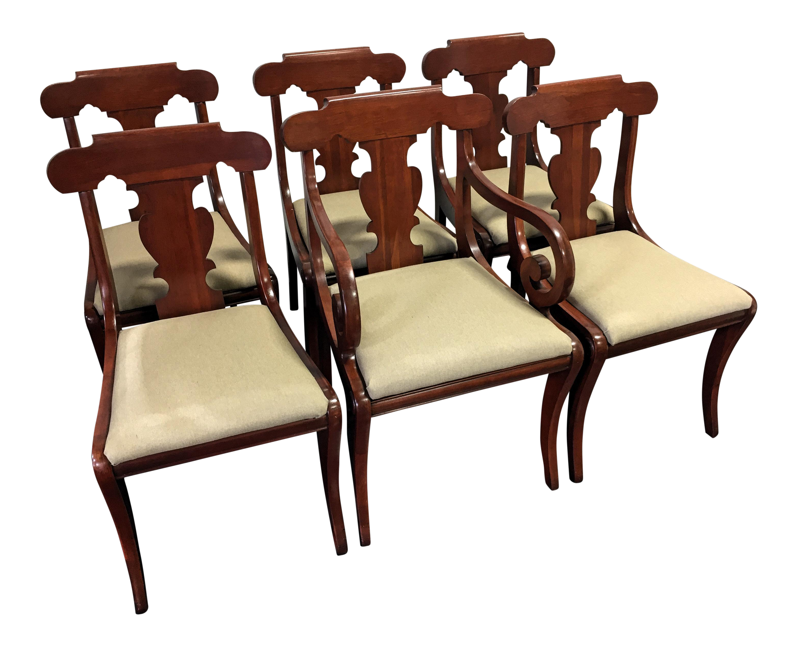 Image Of Vintage Willett Solid Cherry Empire Style Dining Chairs   Set Of 6