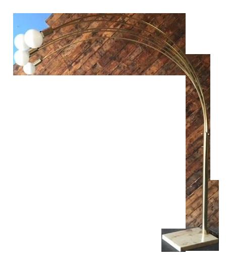 Vintage 70 S Brass 5 Bulb Arc Floor Lamp Chairish