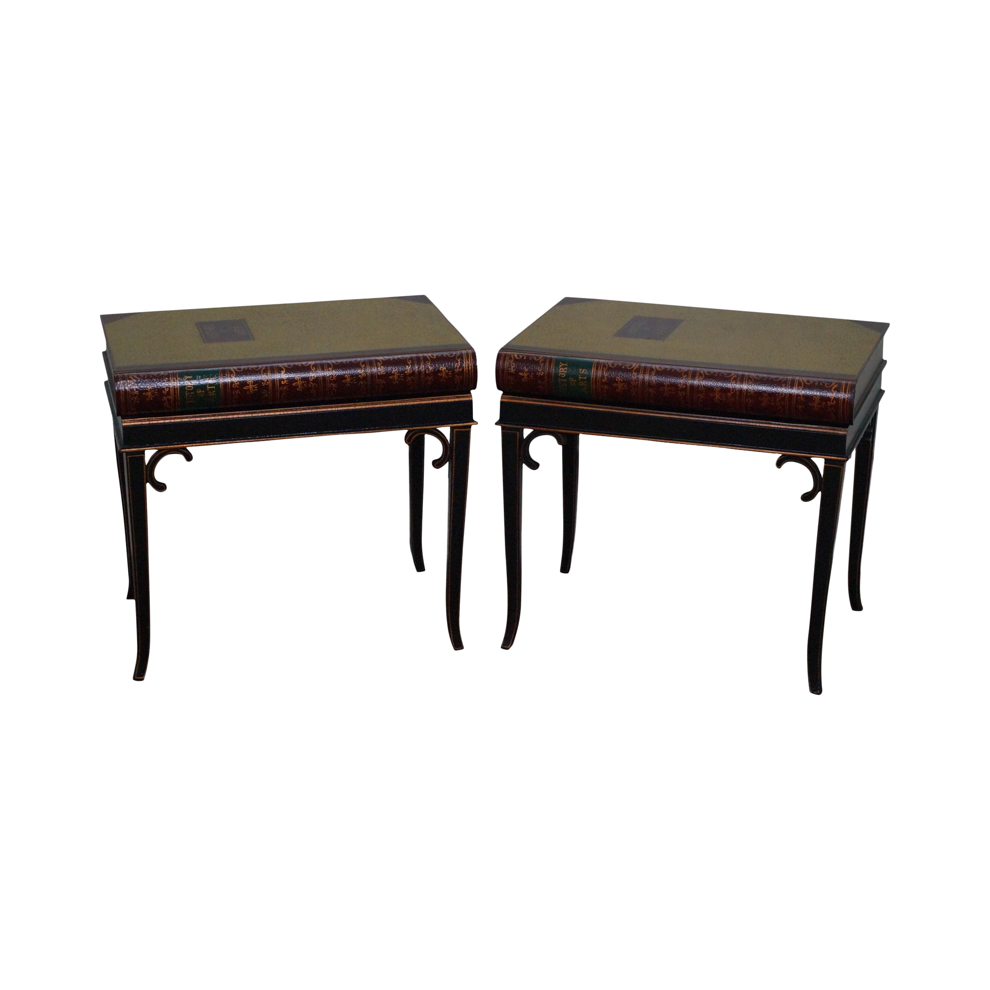 Maitland Smith Regency Style Faux Book Side Tables A