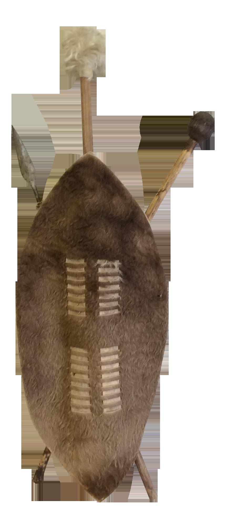 Boho African Zulu Warrior Hide and Spear Shield | Chairish