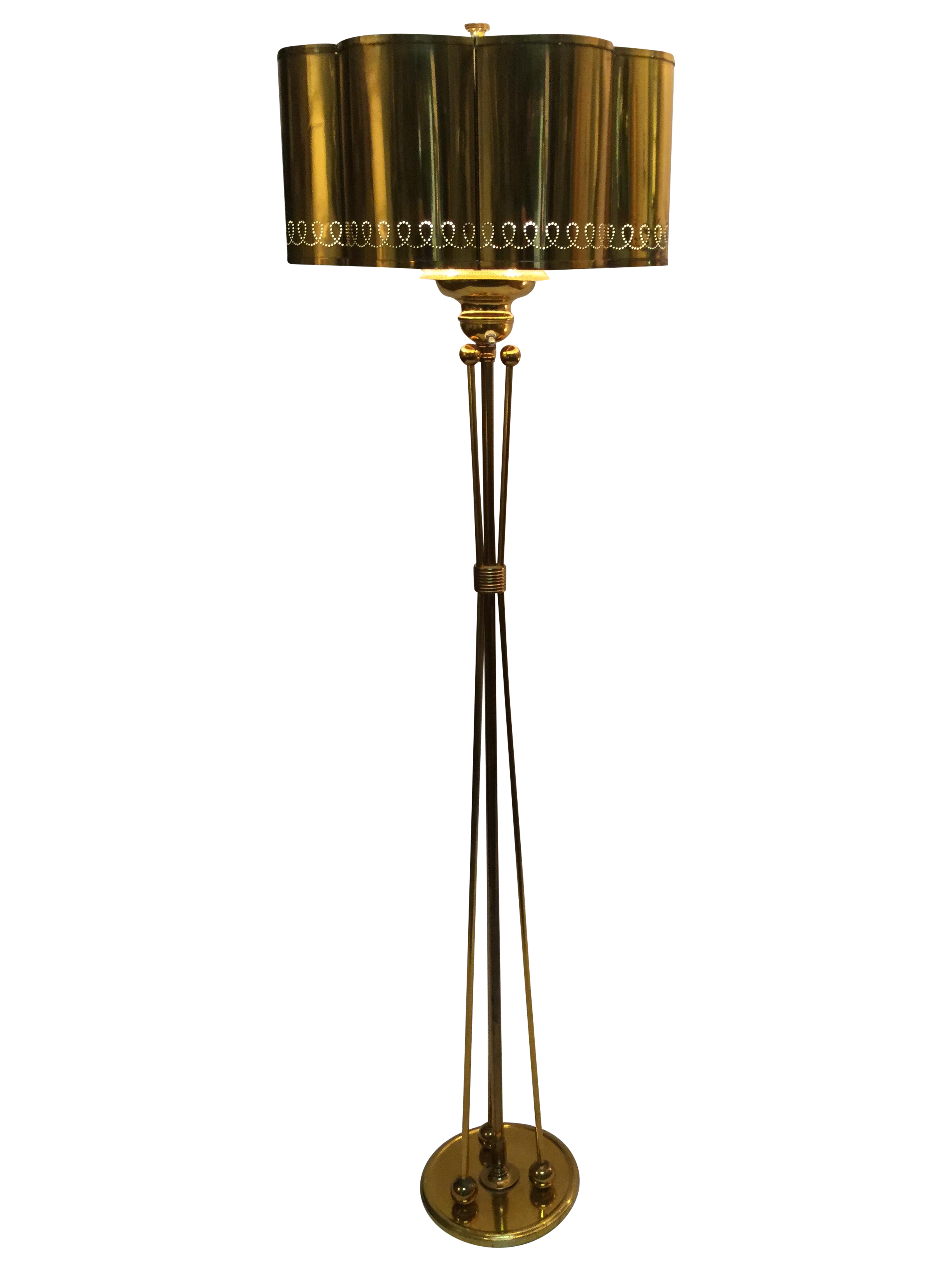 Vintage 1950s modern french brass floor lamp chairish for 1950 s brass floor lamp