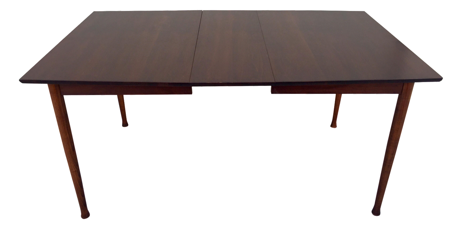 Restored Mid Century Modern Walnut Expandable Dining Table
