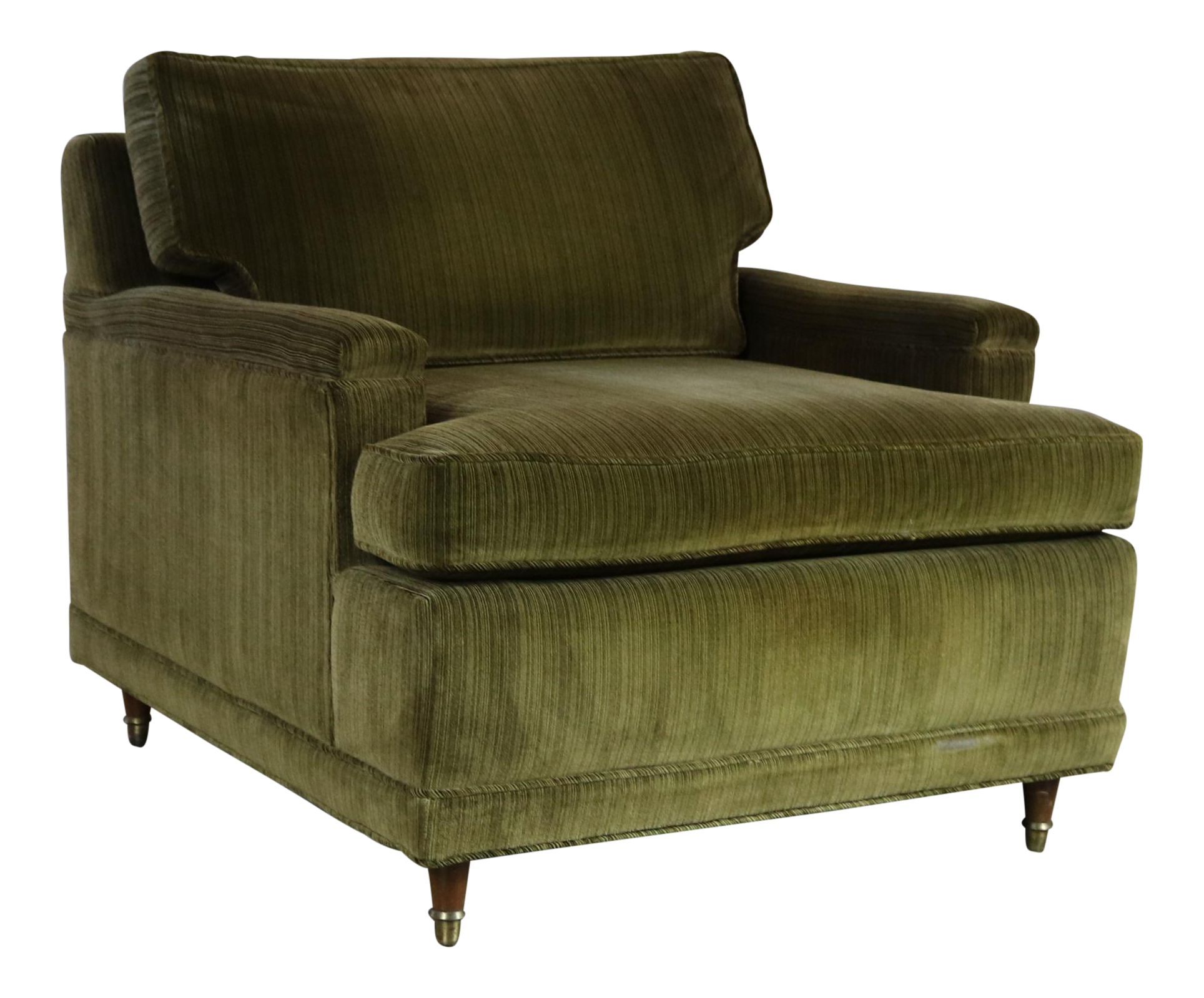 Deep Green Velvet Lawson Style Vintage Club Chair Mid Century Modern |  Chairish