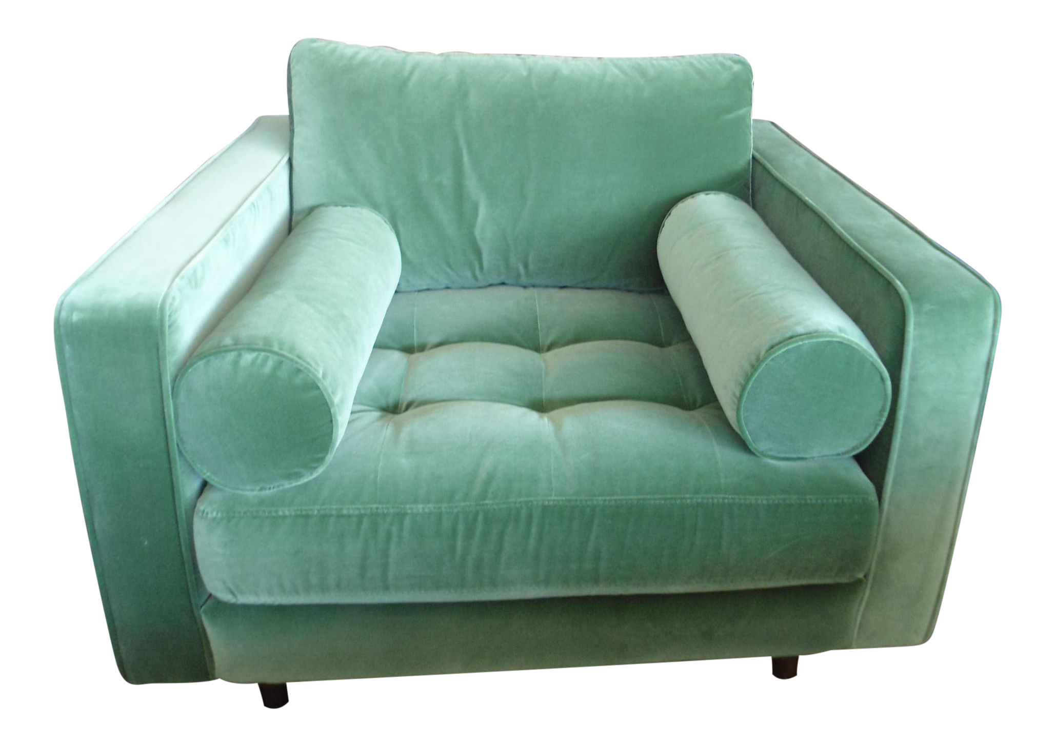 Sven Green Velvet Tufted Armchair with Bolster Pillows by Article