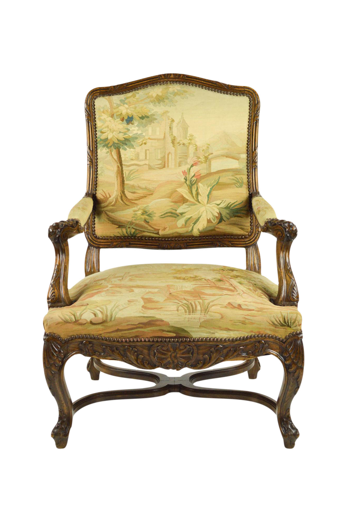 Antique french chair - Image Of Antique Carved French Chair With Aubusson Tapestry