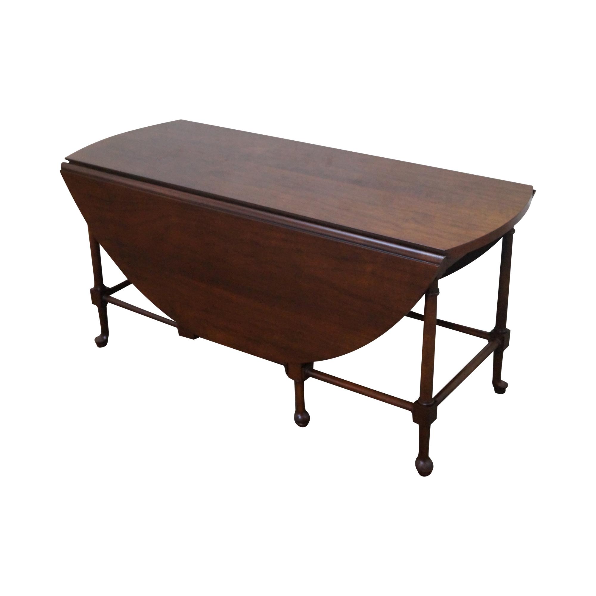baker walnut drop leaf coffee table | chairish