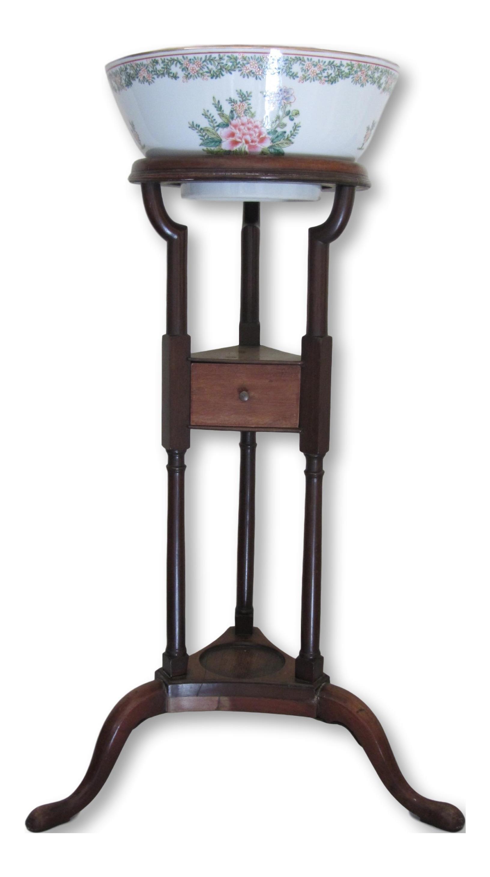 Antique Wash Basin Planter On Wooden Stand Chairish