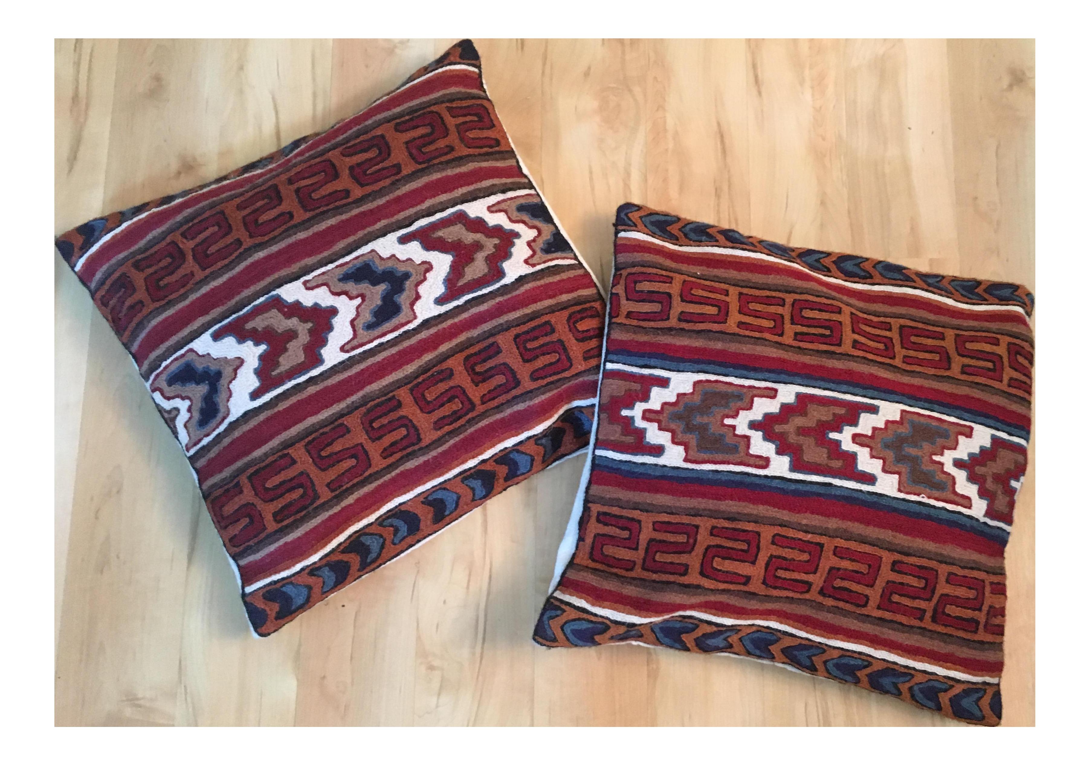 Vintage Southwestern Pillow : Vintage Southwestern Crewel Pillows - A Pair Chairish