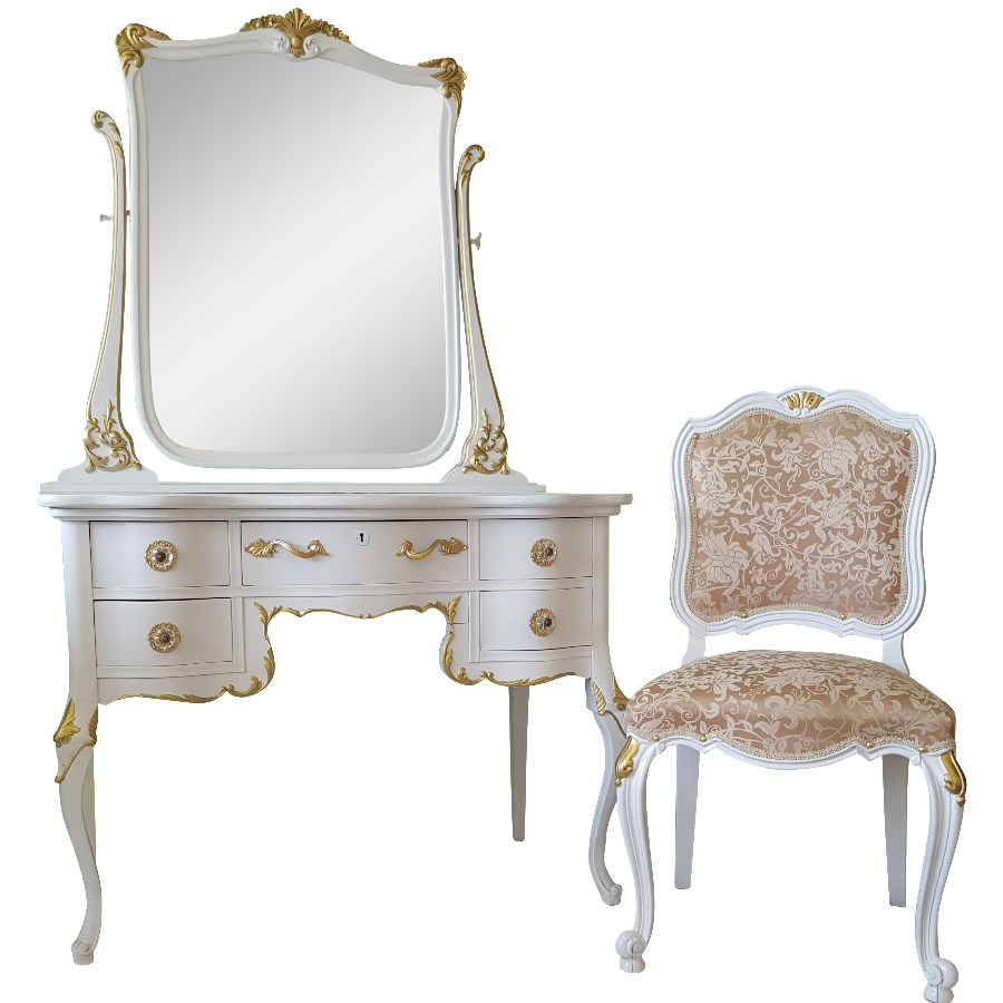 - Antique White & Gold Makeup Vanity Mirror & Chair Chairish
