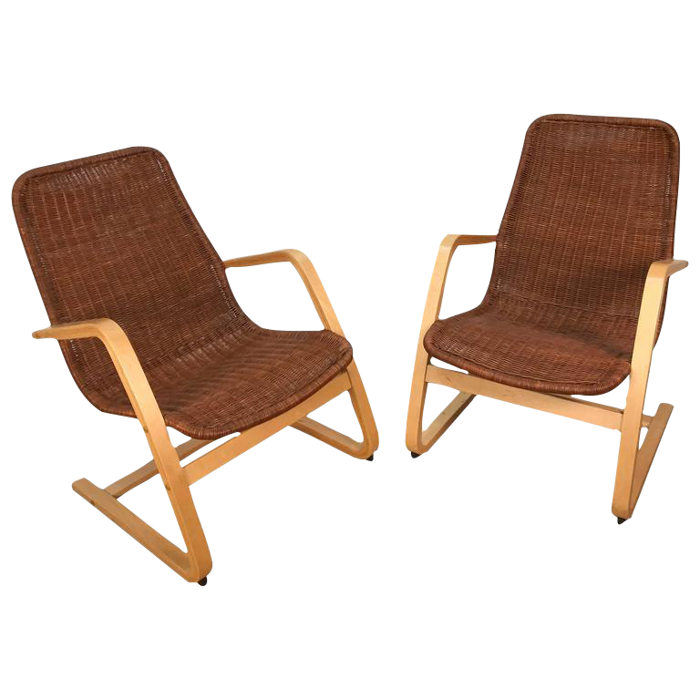 Alvar aalto style wicker blonde wood lounge chairs a for Alvar aalto chaise lounge