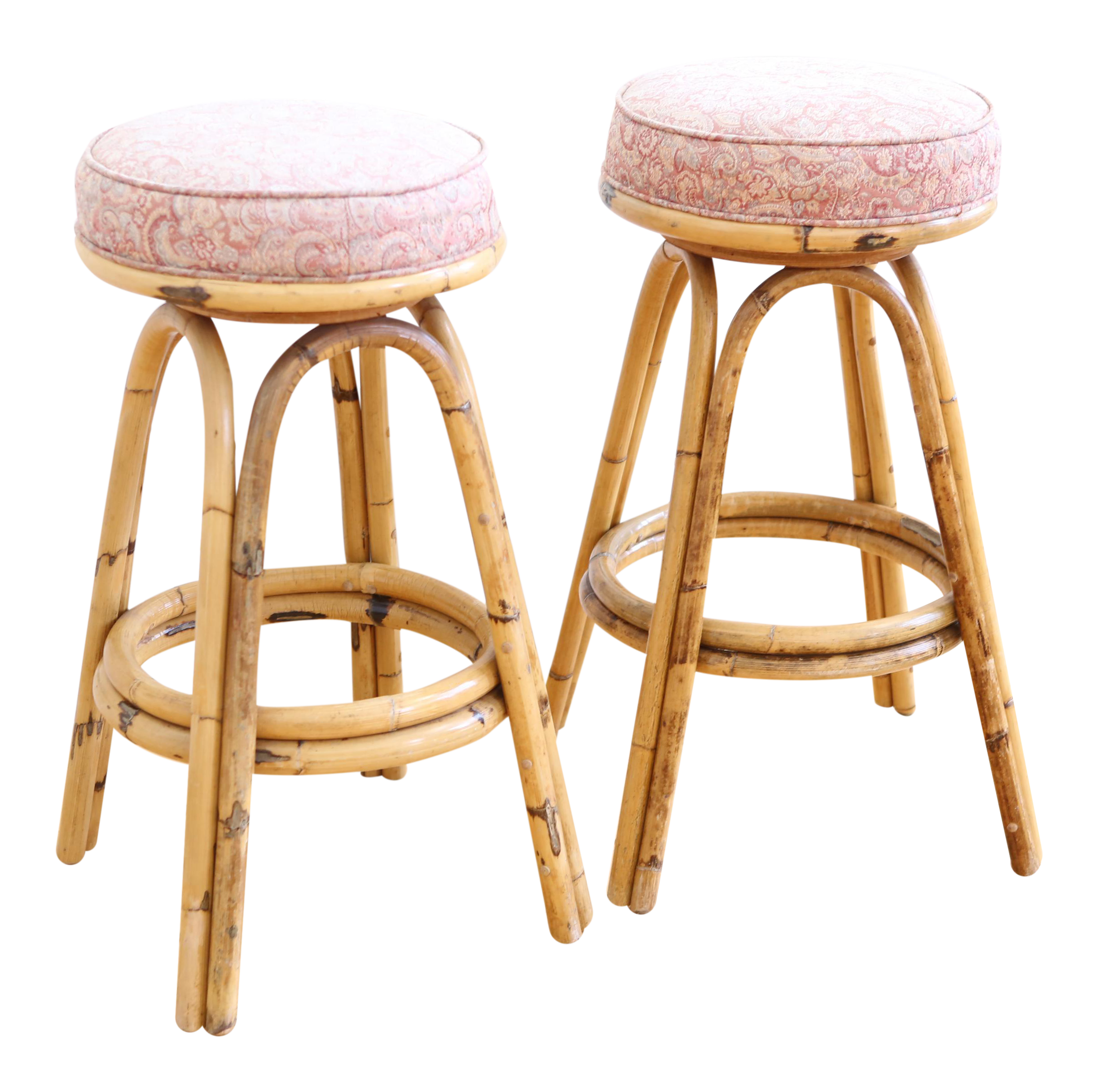 Vintage Boho Chic Rattan Bamboo Swivel Bar Stools Set Of 2 Chairish