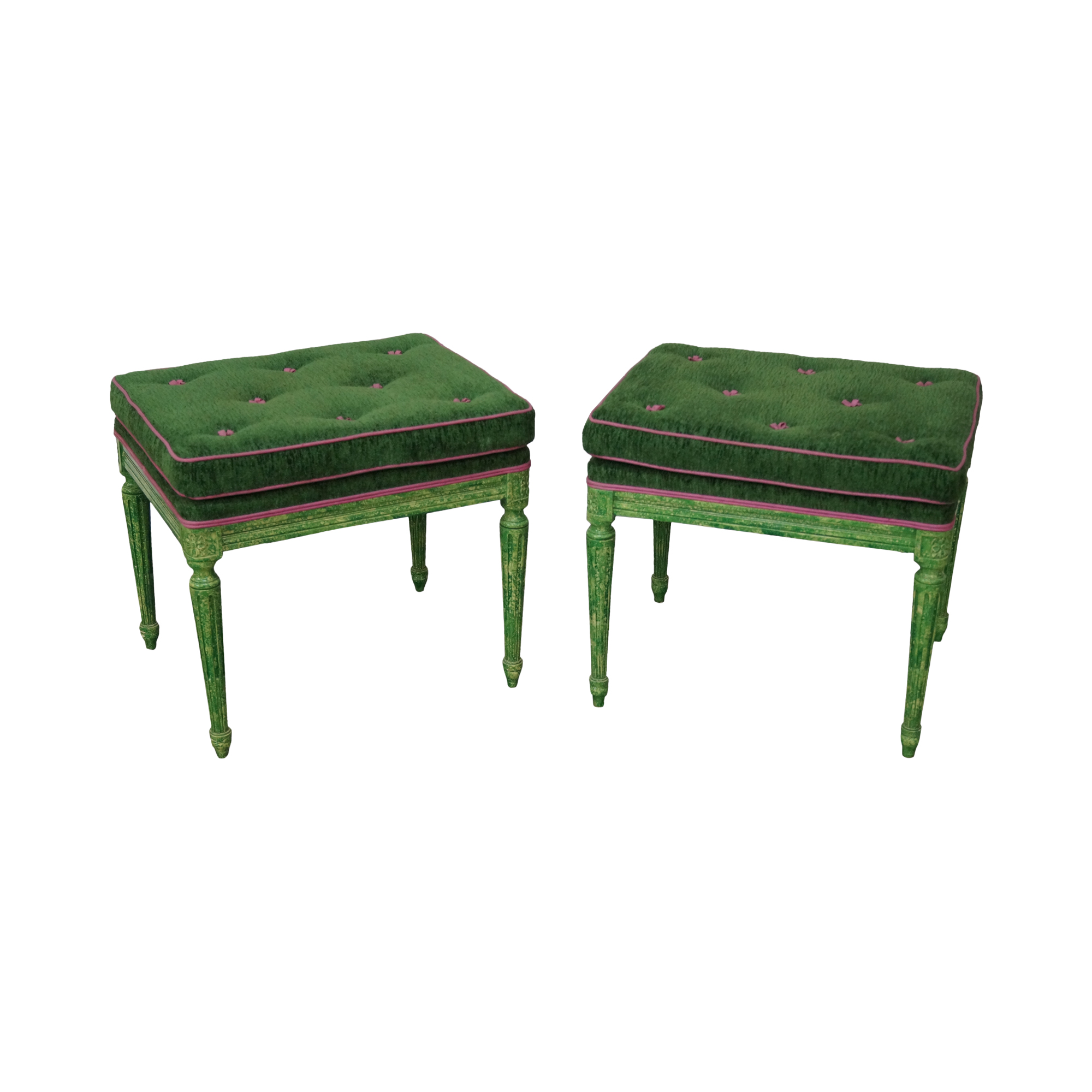 Vintage Louis Xvi Green Painted Benches A Pair Chairish