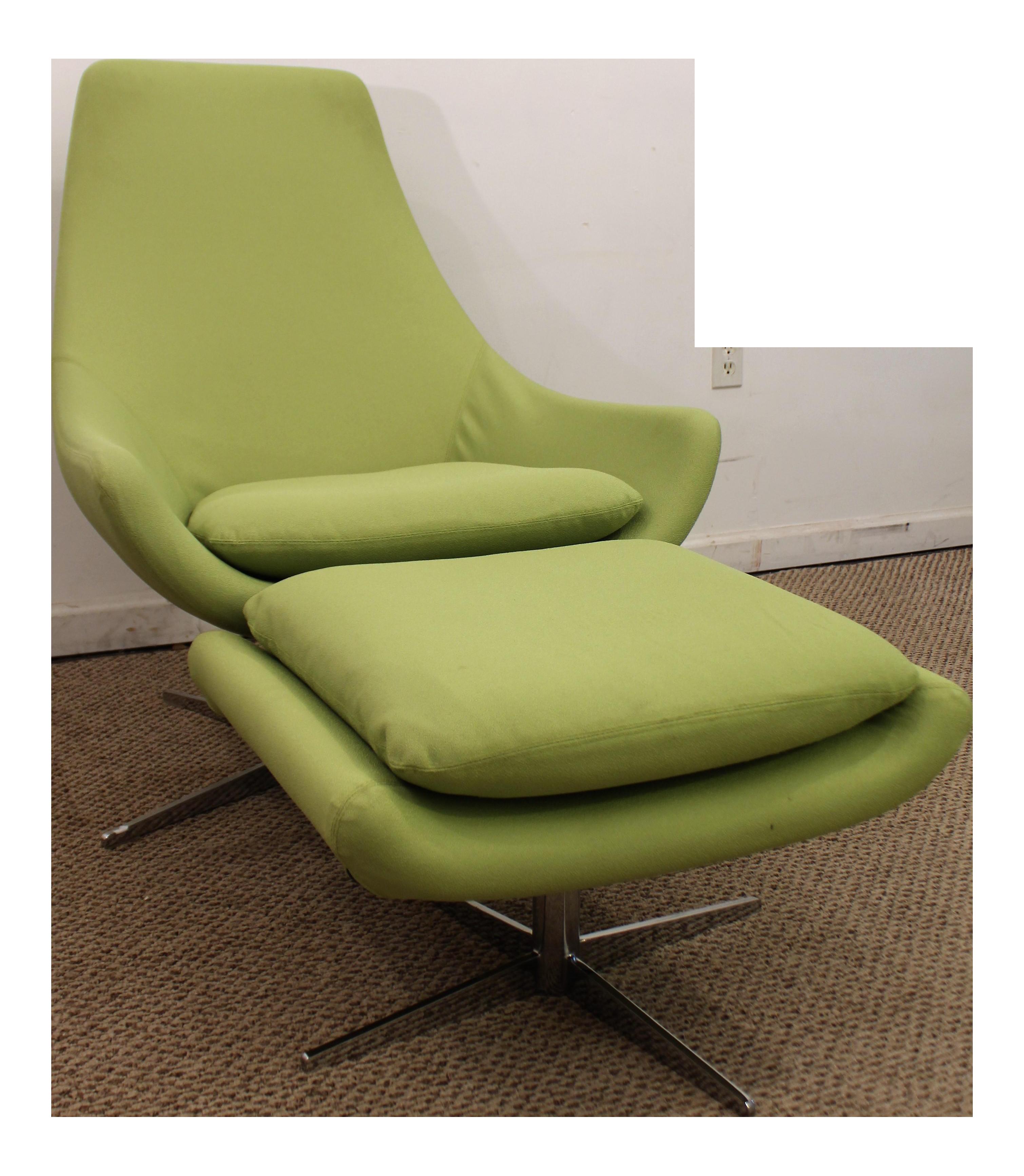 Mid Century Danish Modern Lime Green Swivel Lounge Chair Ottoman
