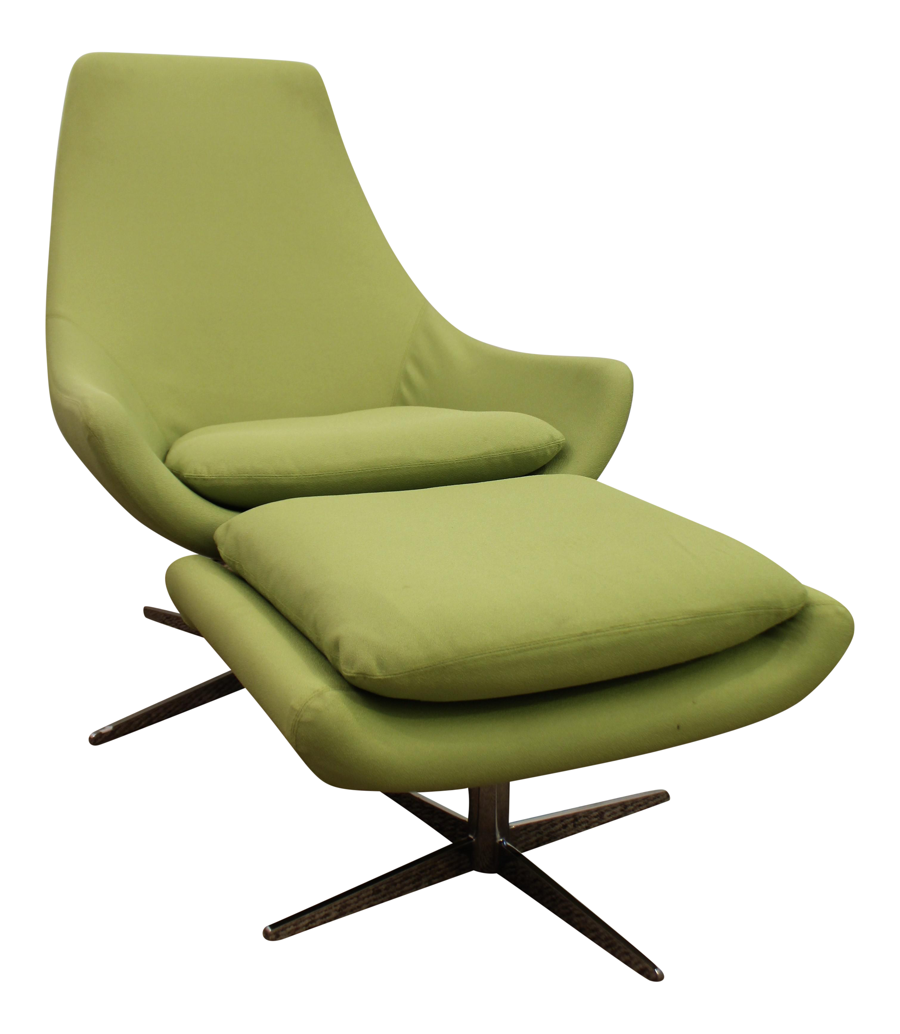 Mid Century Danish Modern Lime Green Swivel Lounge Chair & Ottoman