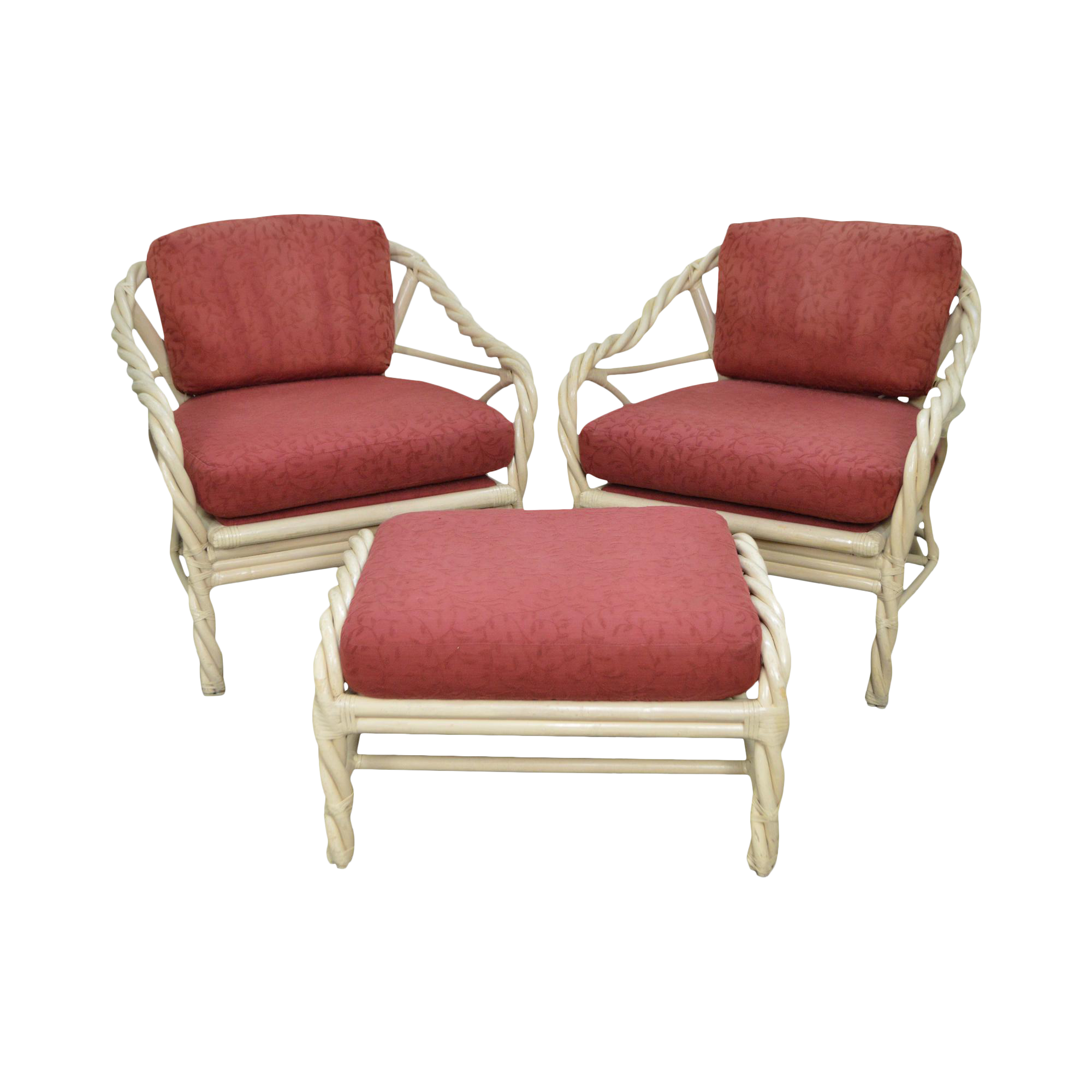 Mcguire Pair Of Twist Bamboo Frame Lounge Chairs W
