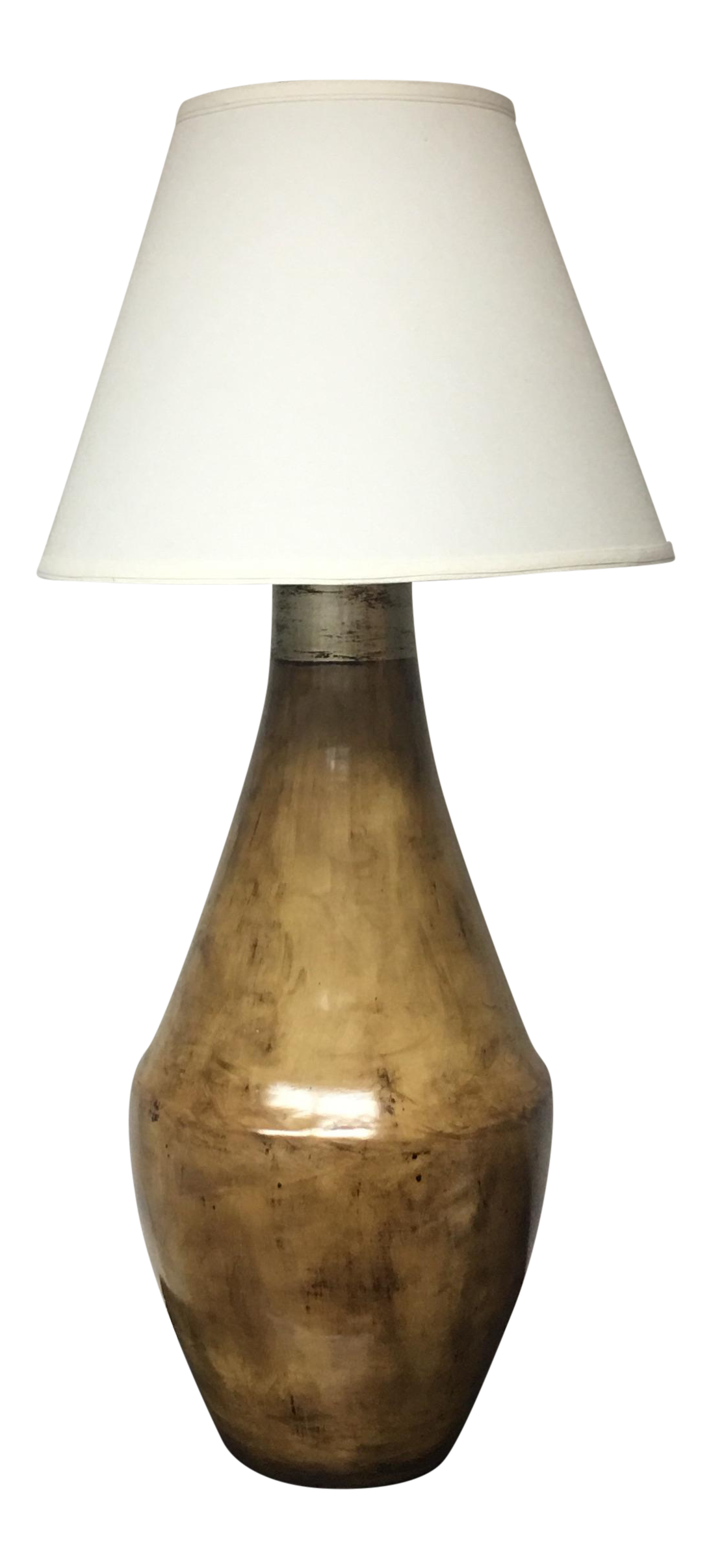 Ceramic brown table lamp with shade chairish for Brown table lamp shades