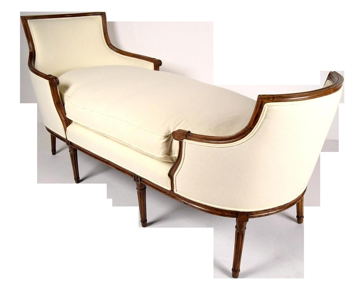 19th c walnut louis xvi chaise lounge duchesse chairish for Chaise medaillon louis xvi