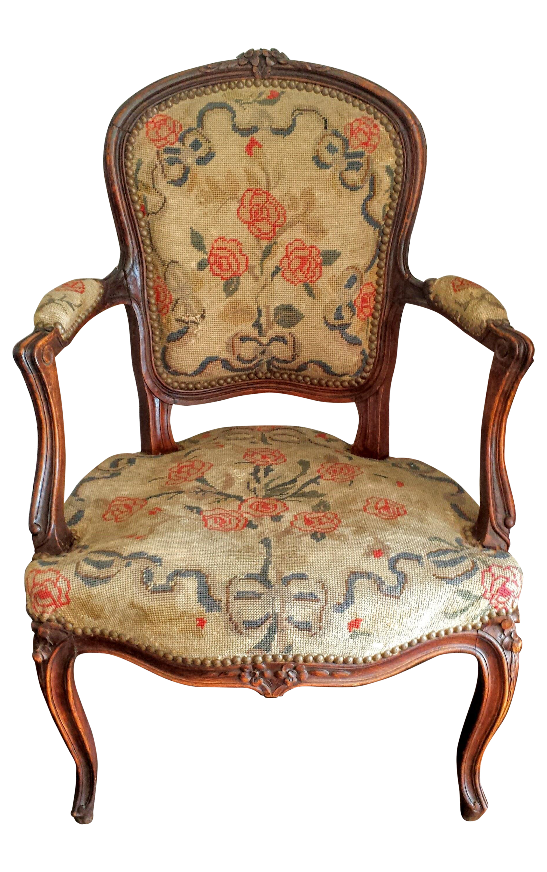 Antique French Louis Xv Style Needlepoint Chair Chairish