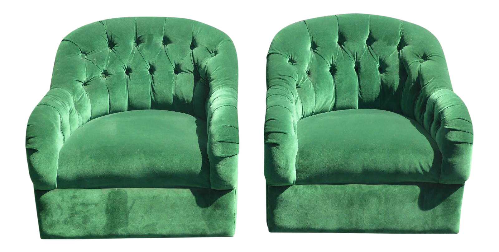 Vintage Pair Of Mid Century Modern Tufted Green Velvet