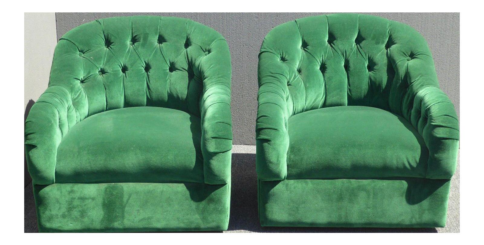 Vintage Pair Of Mid Century Modern Tufted Green Velvet