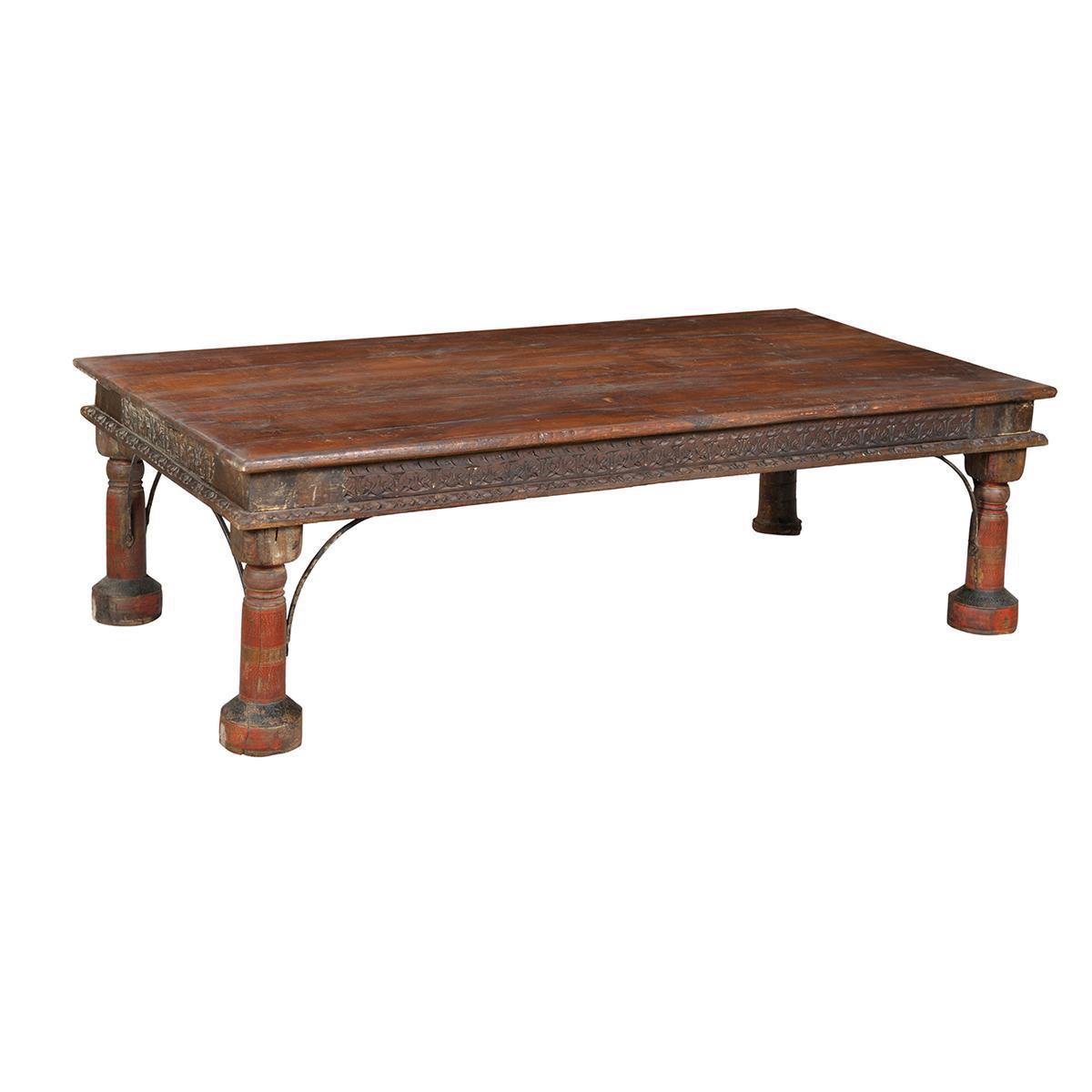 old teak takhat table chairish. Black Bedroom Furniture Sets. Home Design Ideas