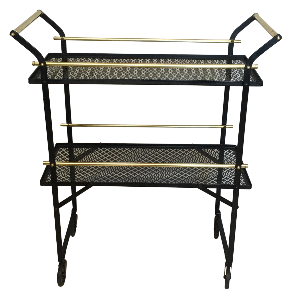 smart french black metal and brass bar cart chairish. Black Bedroom Furniture Sets. Home Design Ideas