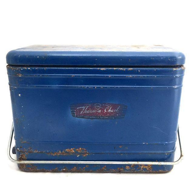 modernize kitchen cabinets vintage blue metal cooler chairish 23580