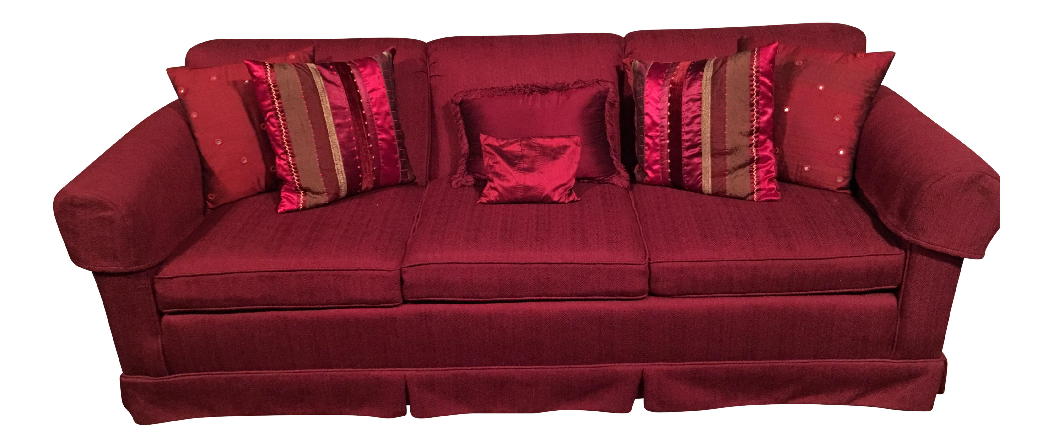 Ethan Allen Red Living Room Sofa & Decorative Pillows Chairish