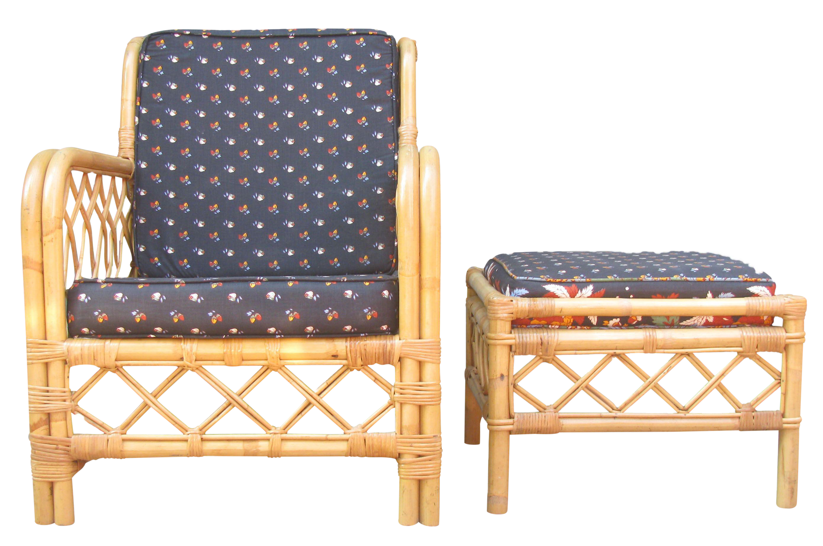 Ficks Reed Bamboo Chair & Ottoman Side Table