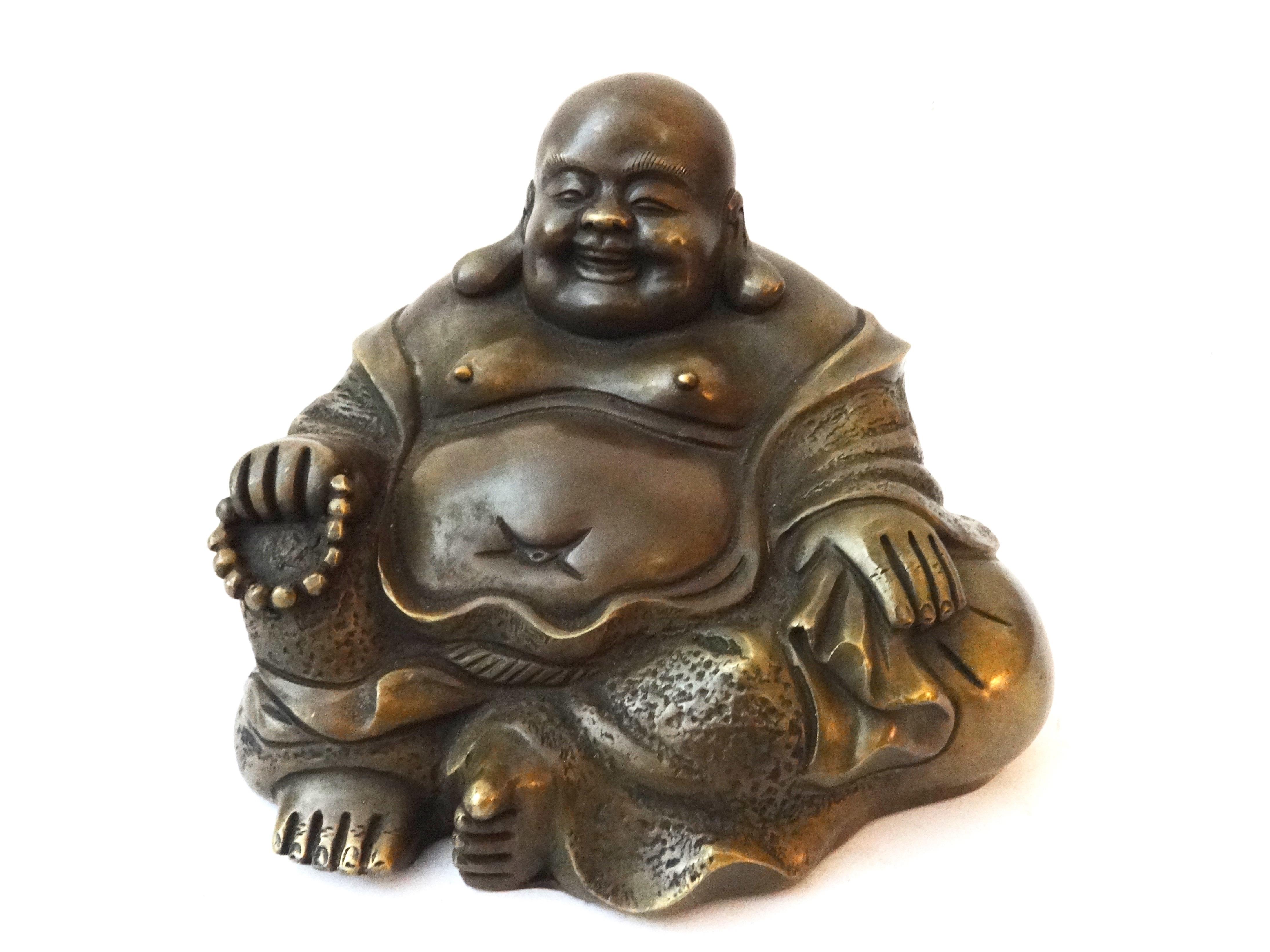 Bronze Happy Buddha Figure Chairish