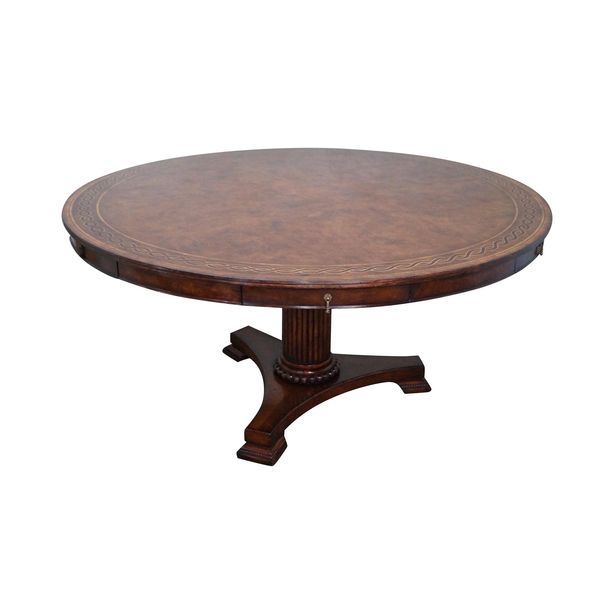 Jonathan Charles Burl Wood Pedestal Dining Table Chairish