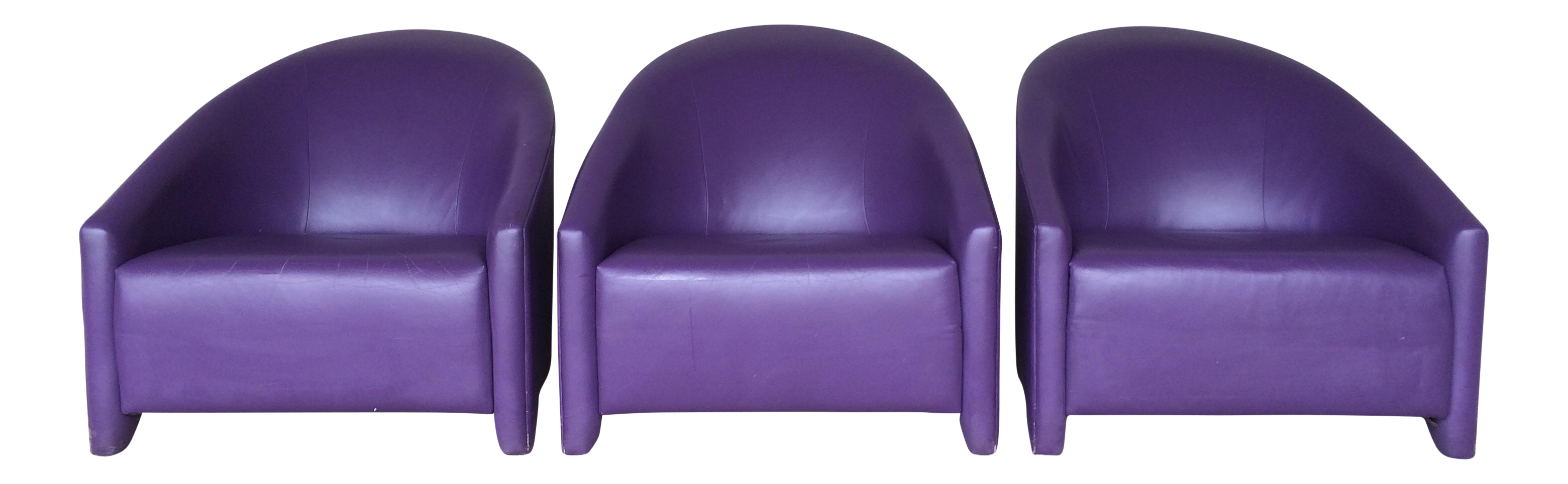 Leather Purple Contemporary Club Chairs Set of 3