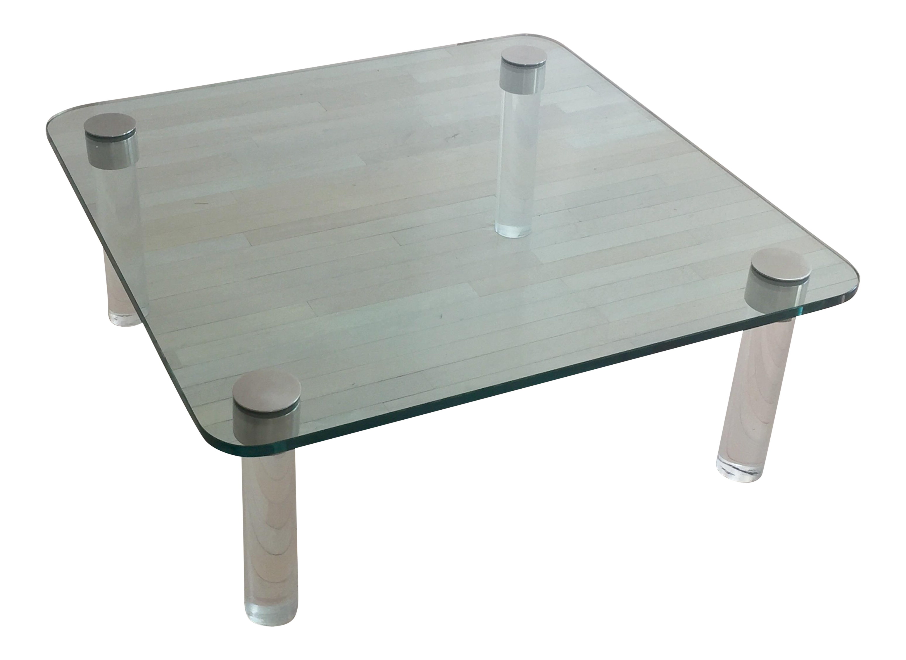 pace glass & chrome coffee table with lucite legs | chairish