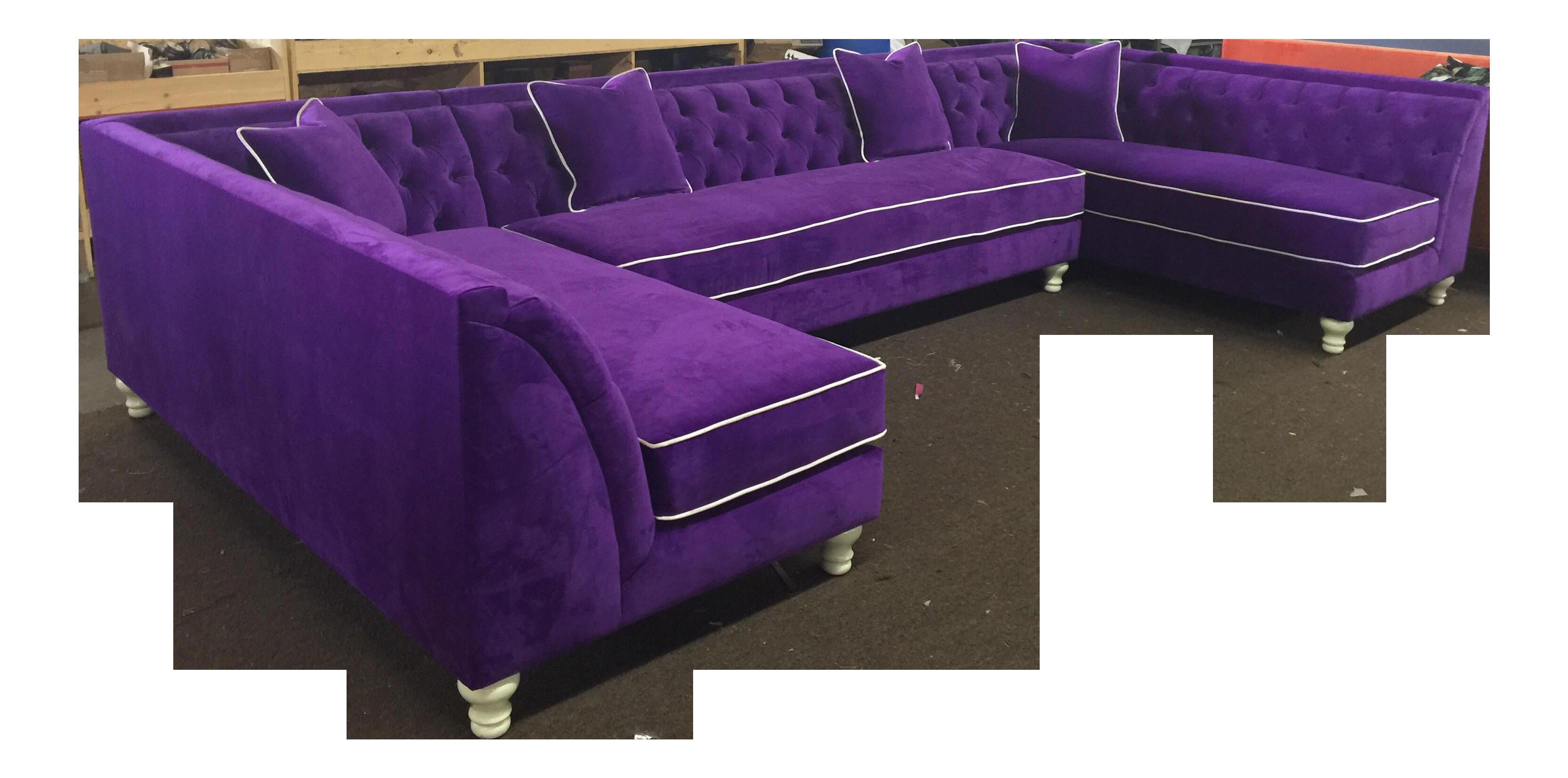 Tufted Purple Velvet U Shaped Sectional Chairish