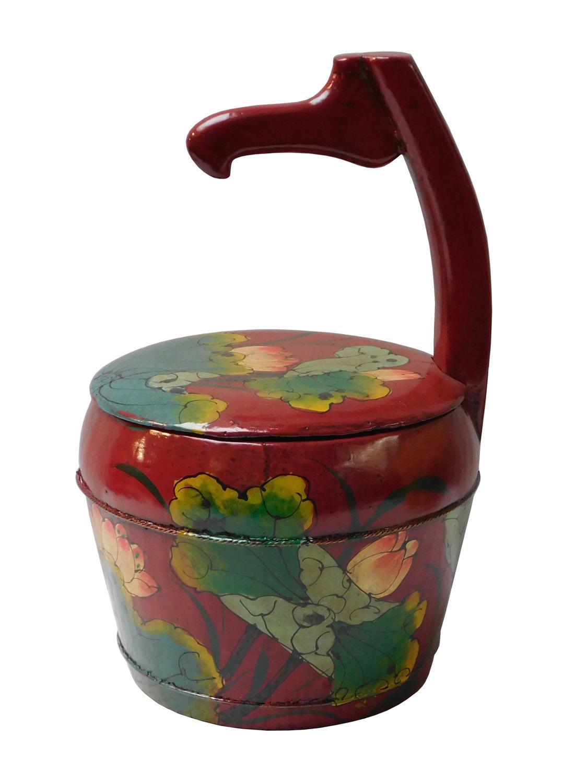 restored antique chinese red goose neck shape wood storage bucket chairish