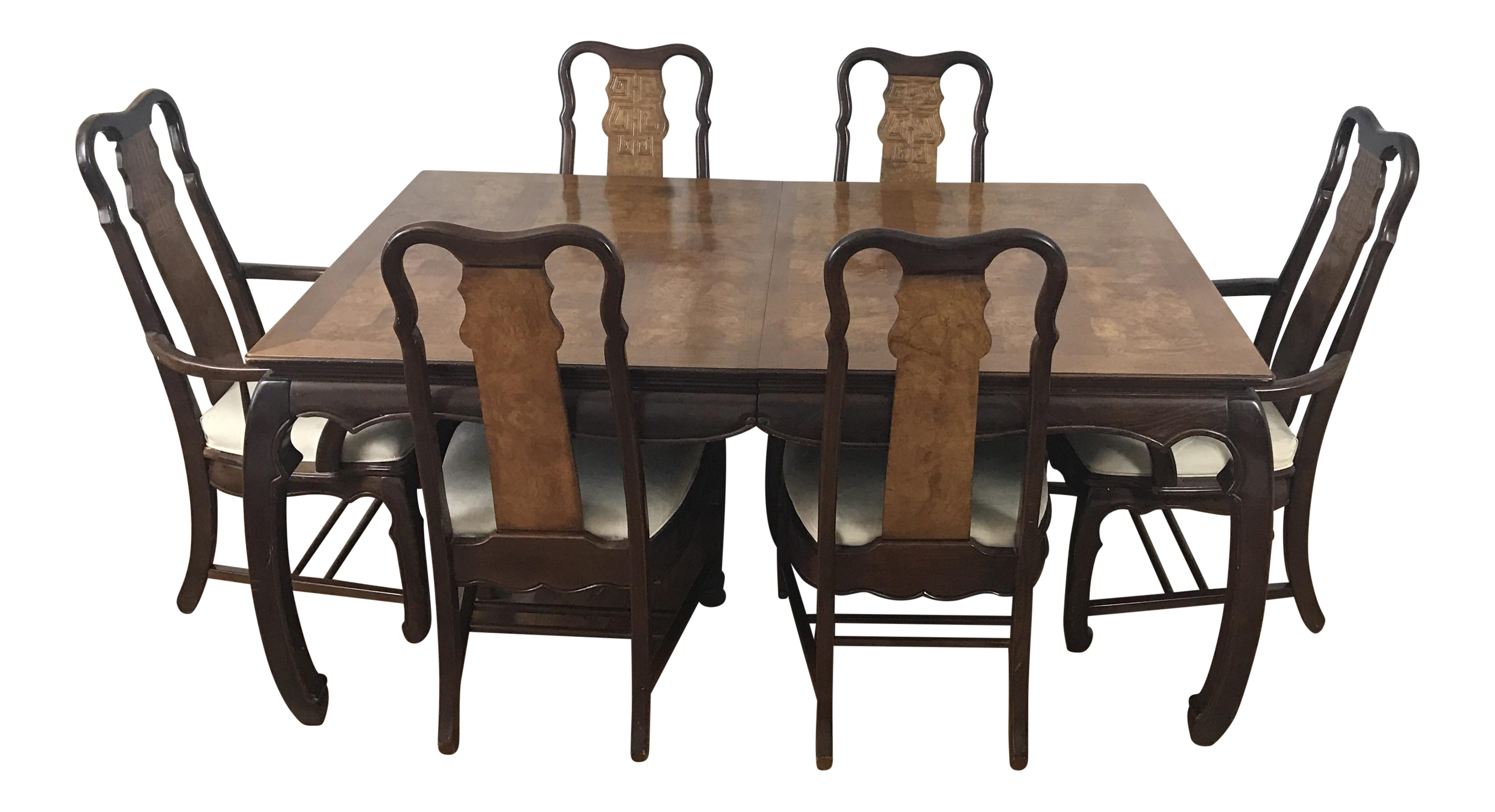 Chinese Chippendale Style Dining Table & Six Chairs 7 Pieces
