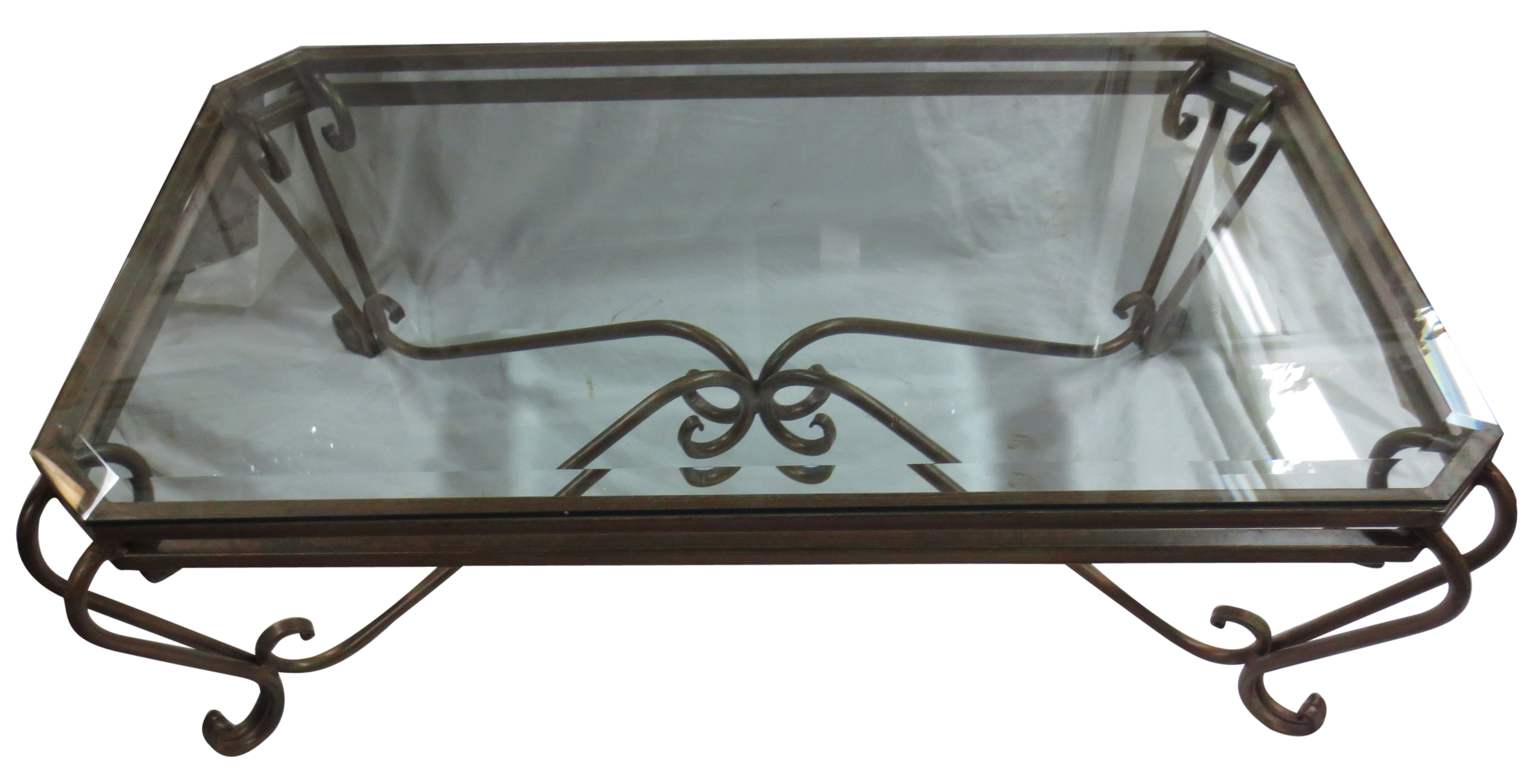 hollywood glam wrought iron and glass coffee table | chairish