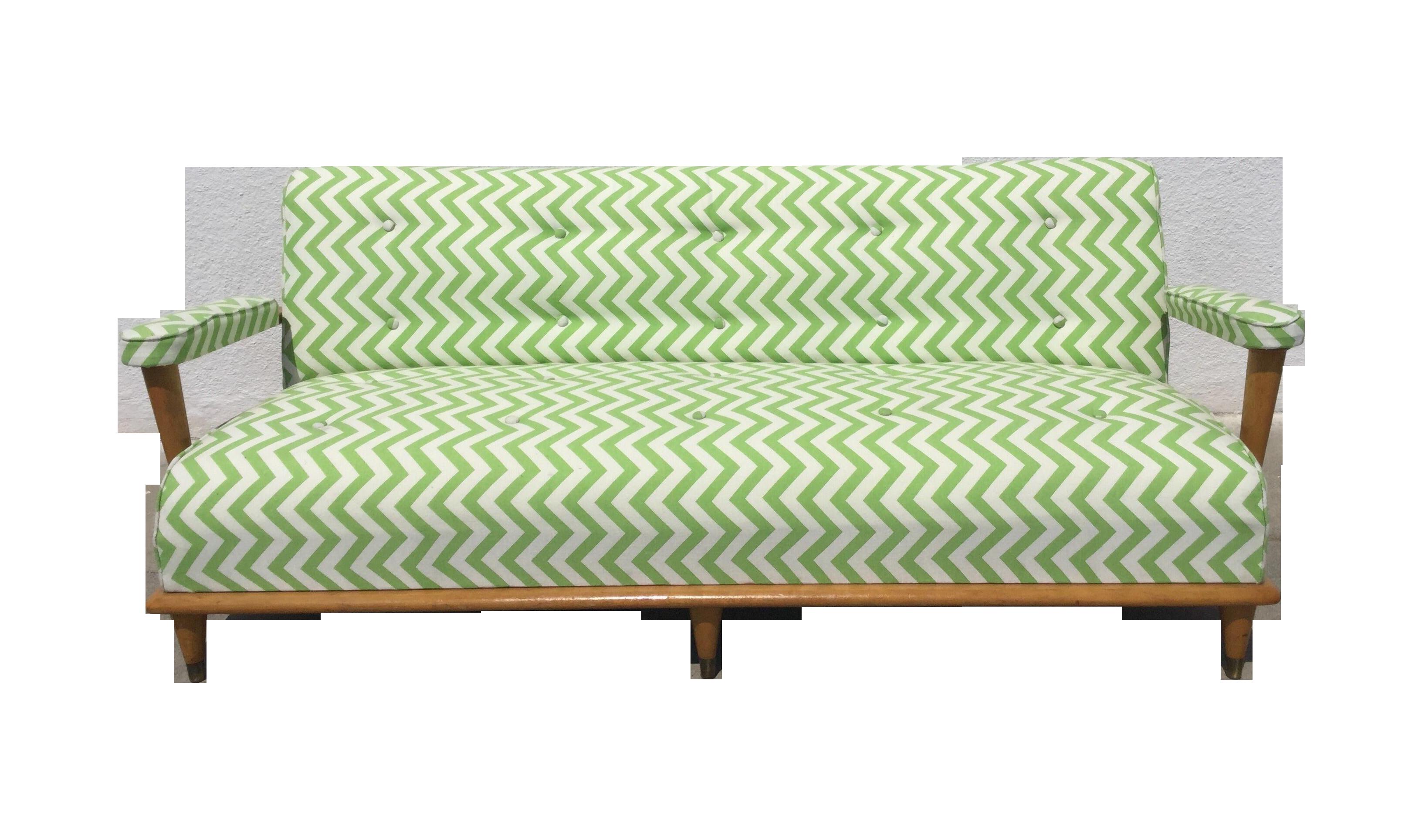 ^ Mid-entury Green Zig Zag Sofa hairish