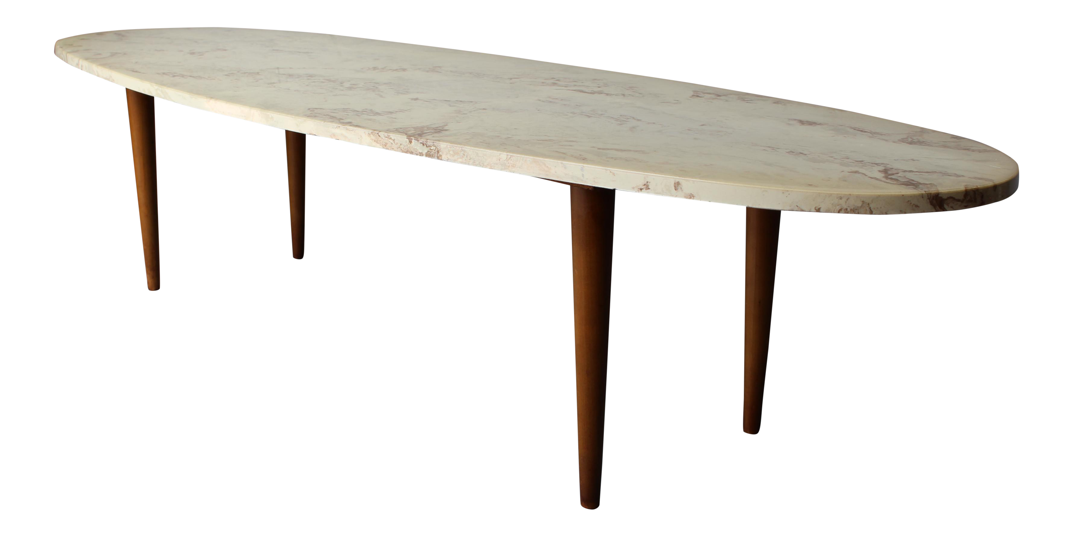 Mid century surfboard travertine coffee table chairish geotapseo Image collections