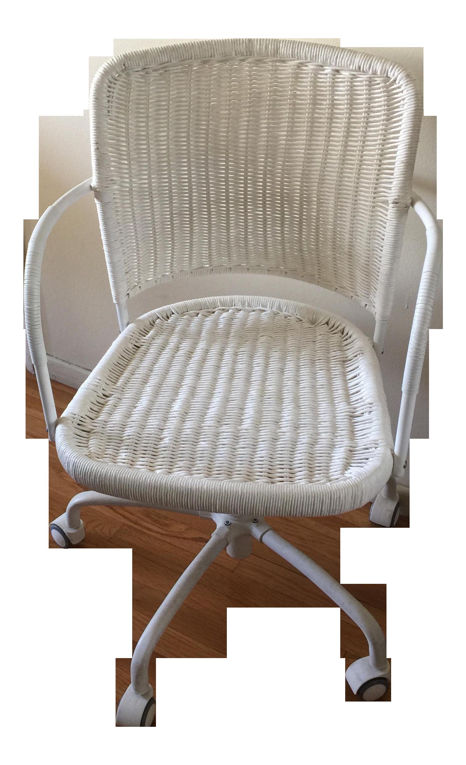 white wicker rolling desk chair | chairish