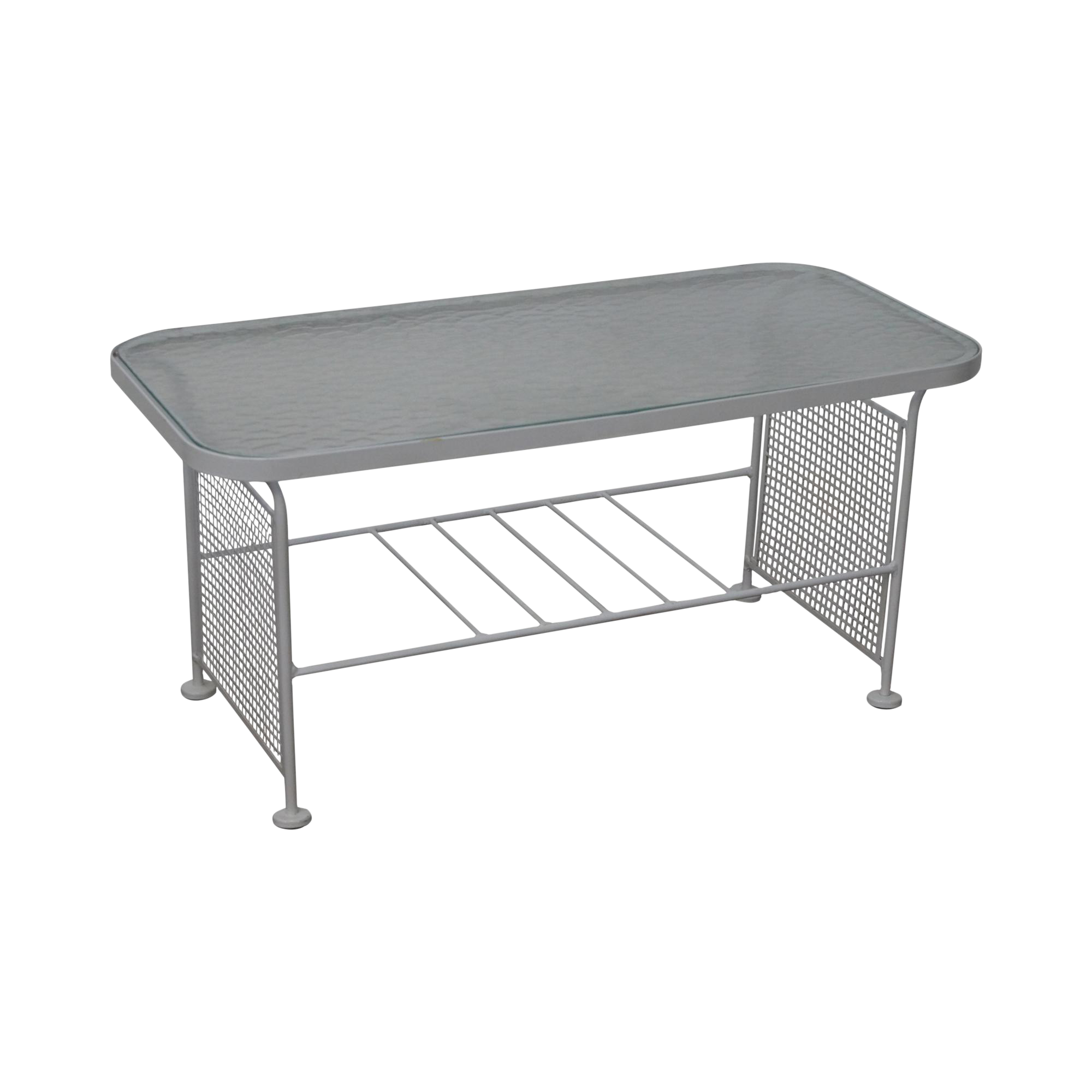 Vintage Woodard White Painted Metal Glass Top Patio Coffee Table Chairish