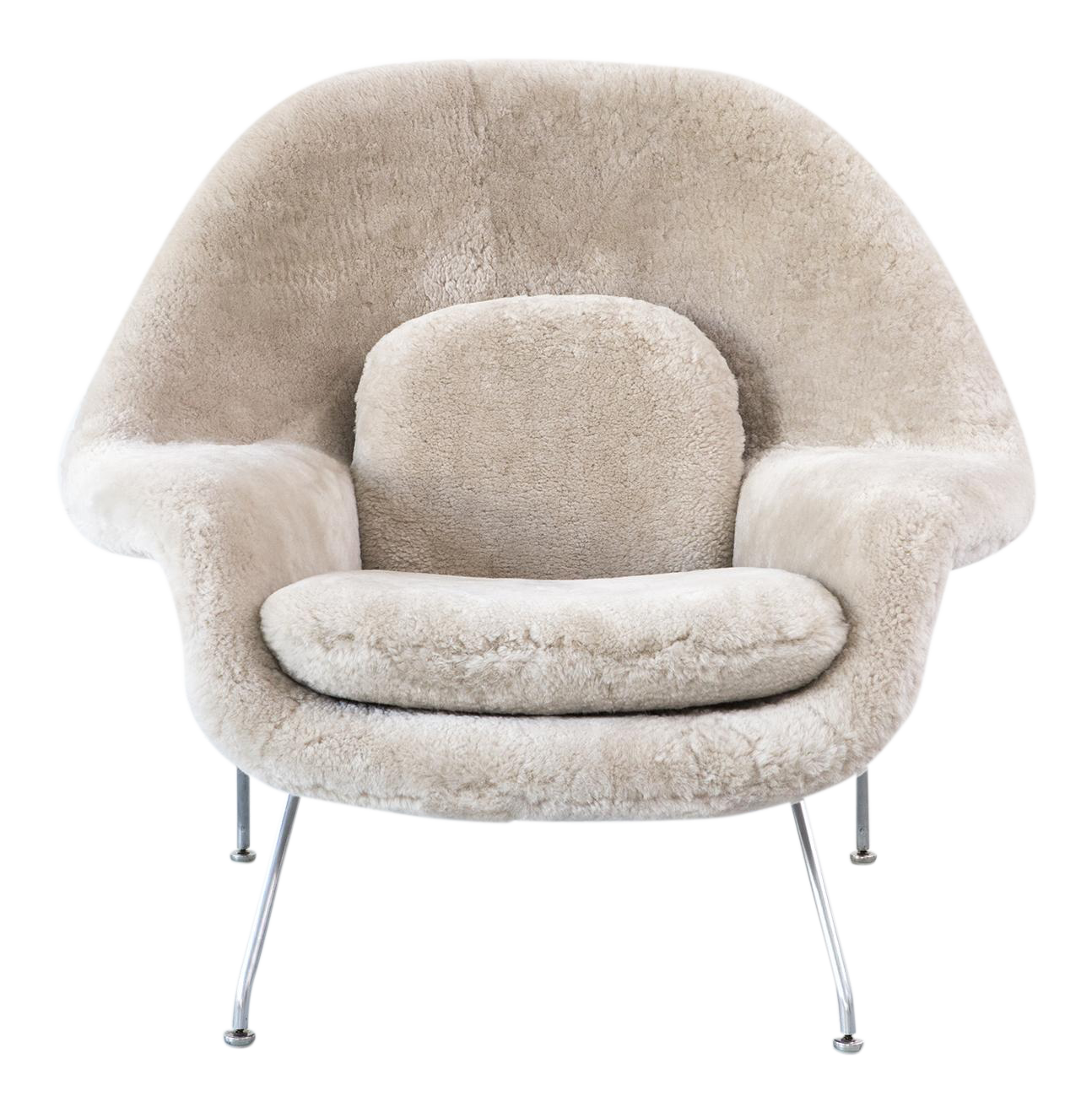 Eero Saarinen for Knoll Womb Chair Reupholstered in Shearling | Chairish