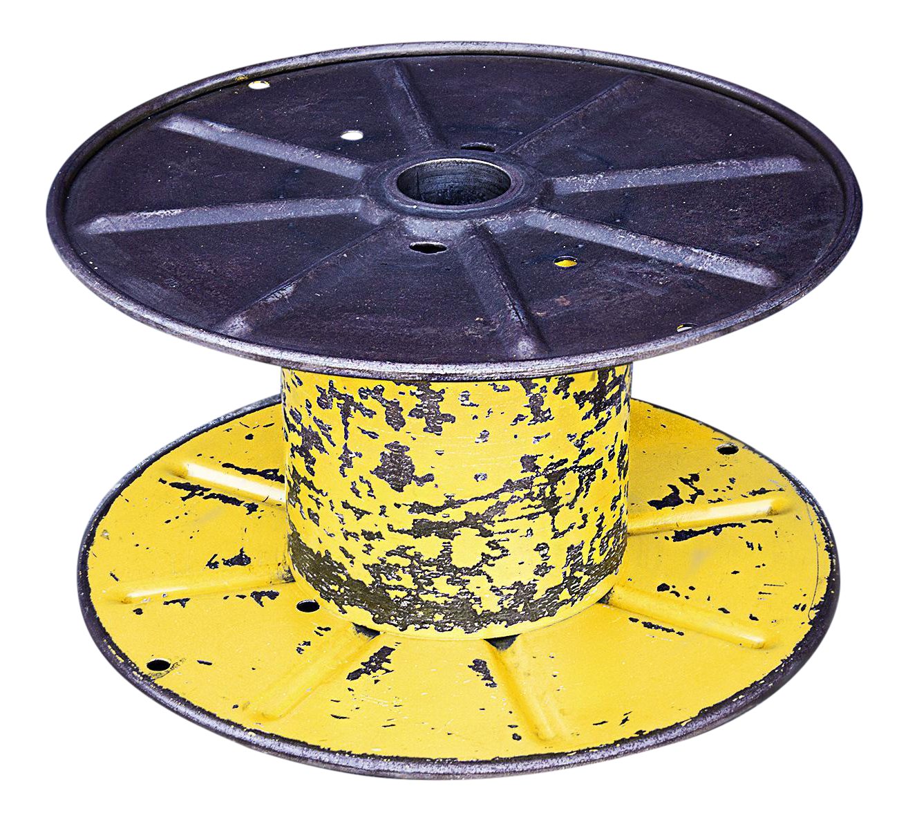 Vintage Yellow Steel Cable Spool