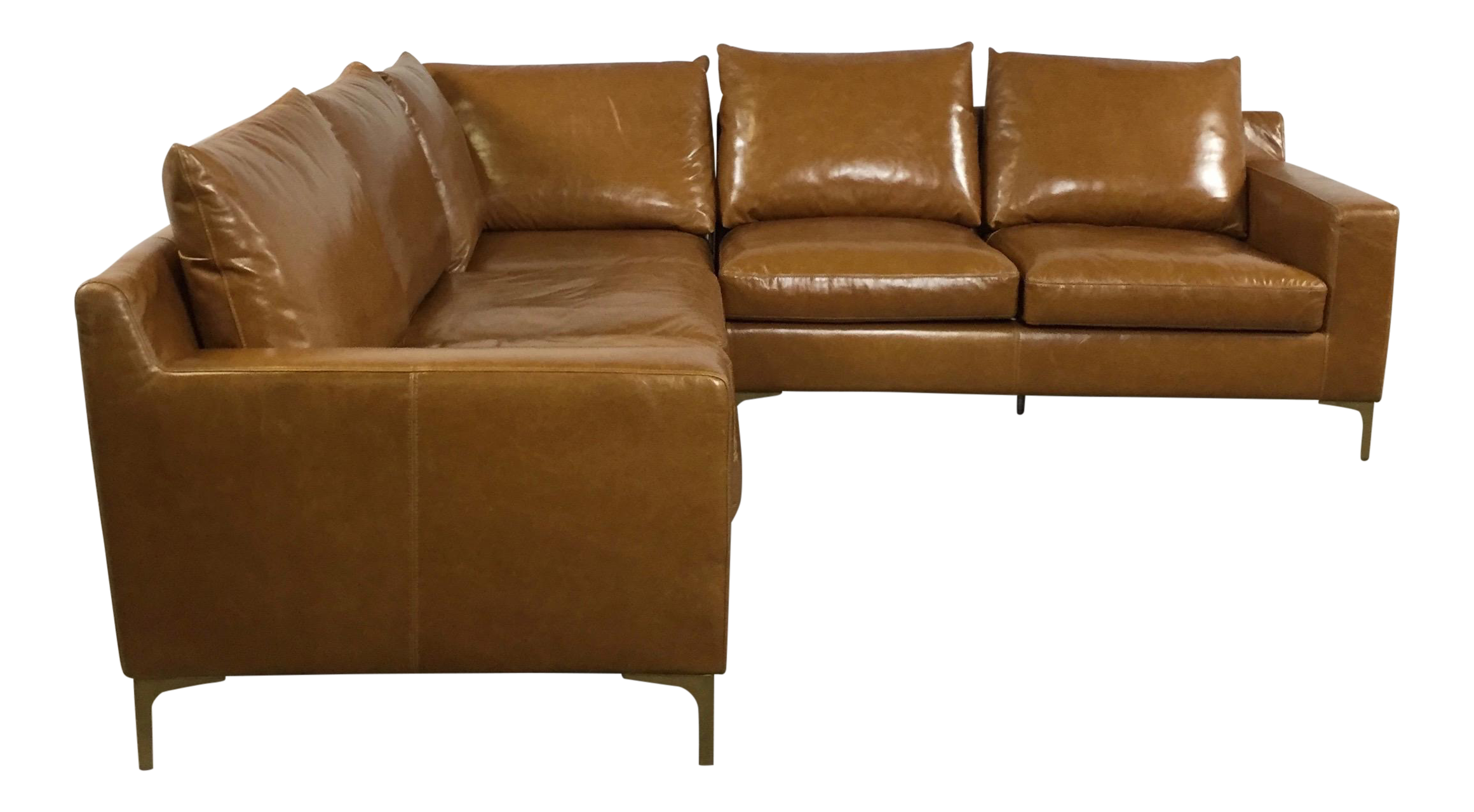 Modern Saddle Leather Sectional Sofa